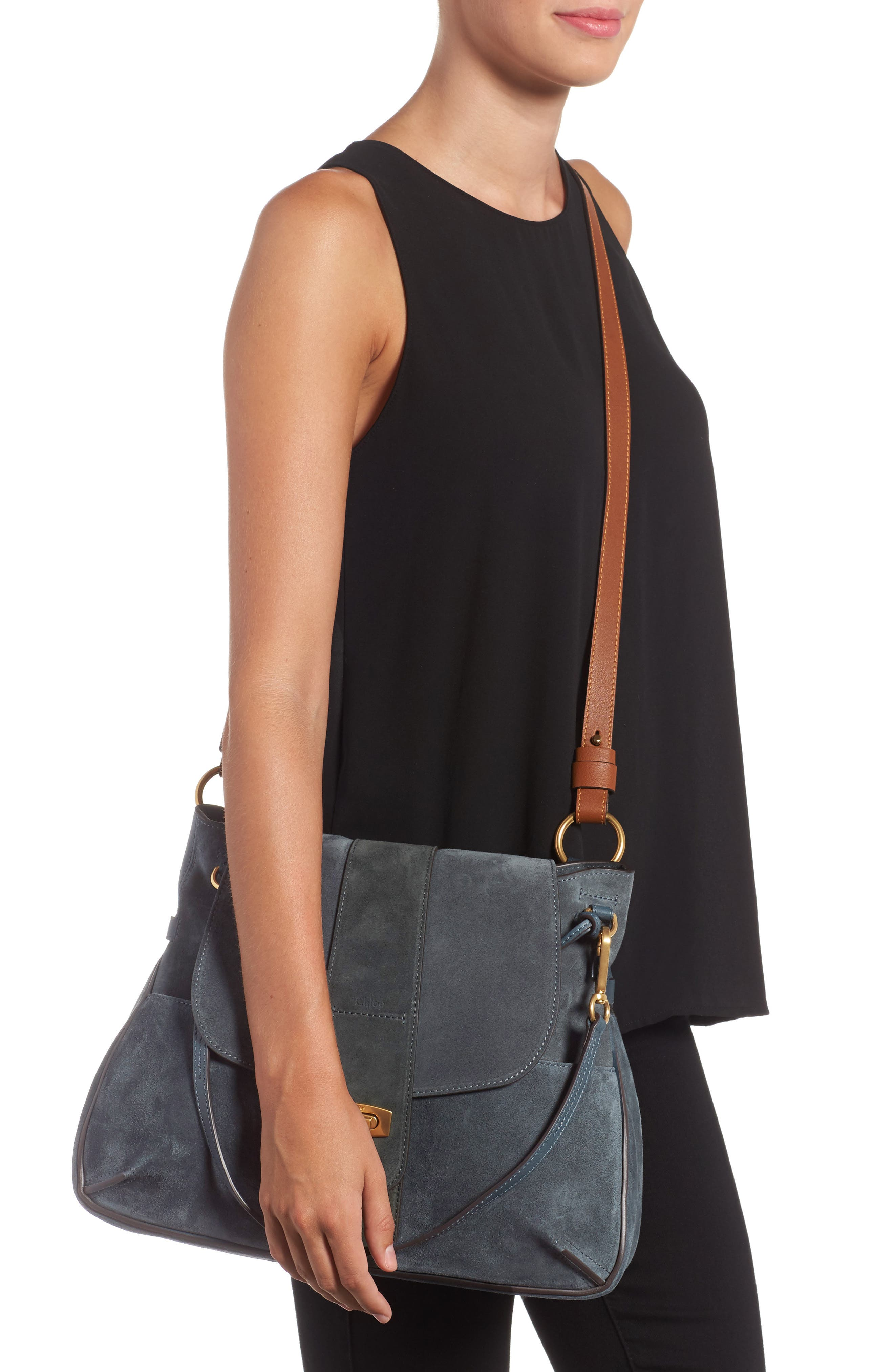 Medium Lexa Leather Shoulder Bag,                             Alternate thumbnail 4, color,