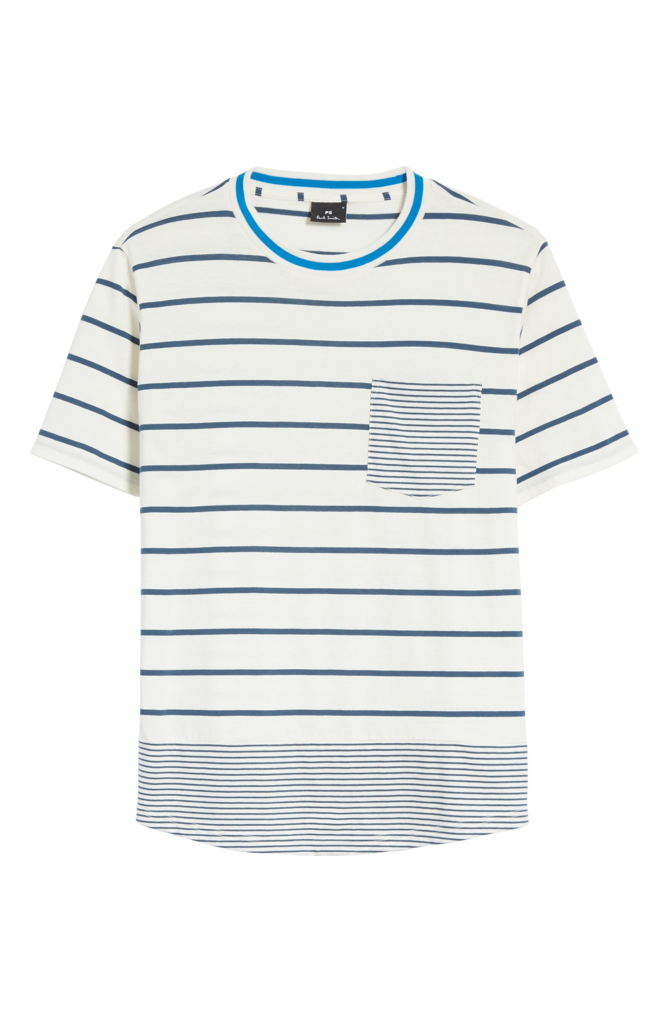 Mixed Stripe Pocket T-Shirt,                             Alternate thumbnail 6, color,                             435