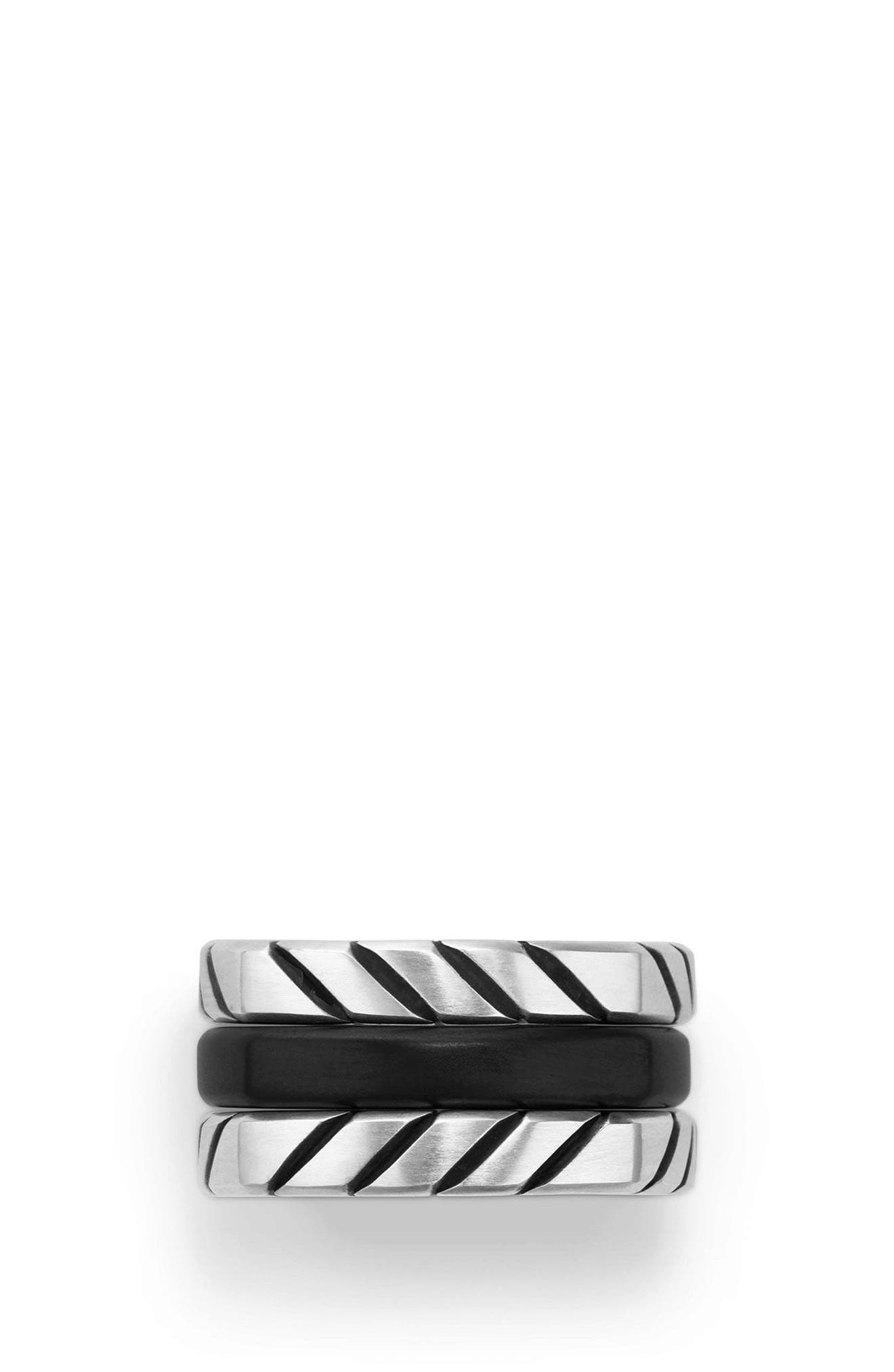 Chevron Stack Ring,                             Alternate thumbnail 4, color,                             SILVER/ TITANIUM