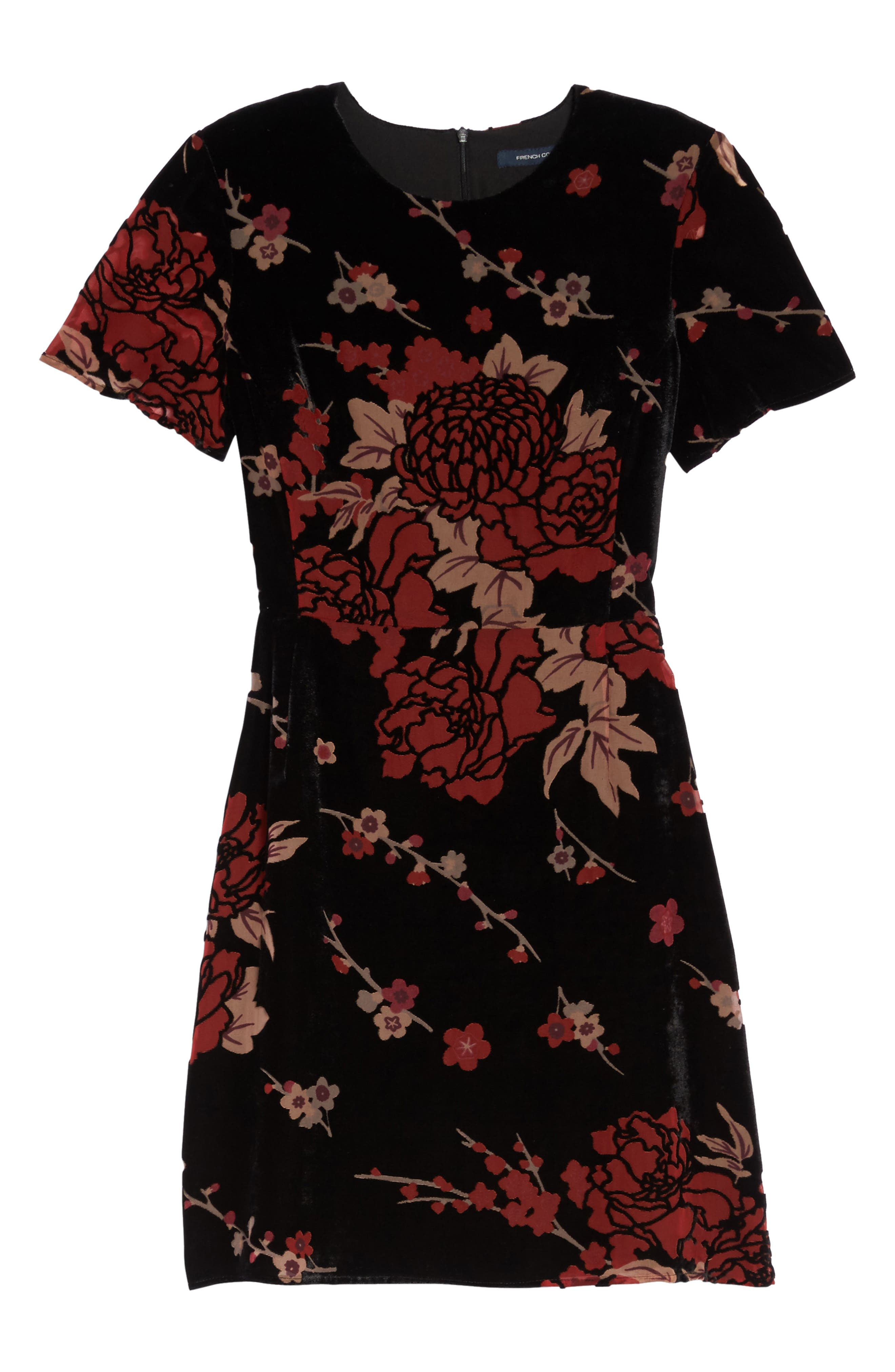 Wilma Devore Burnout Velvet A-Line Dress,                             Alternate thumbnail 6, color,                             017