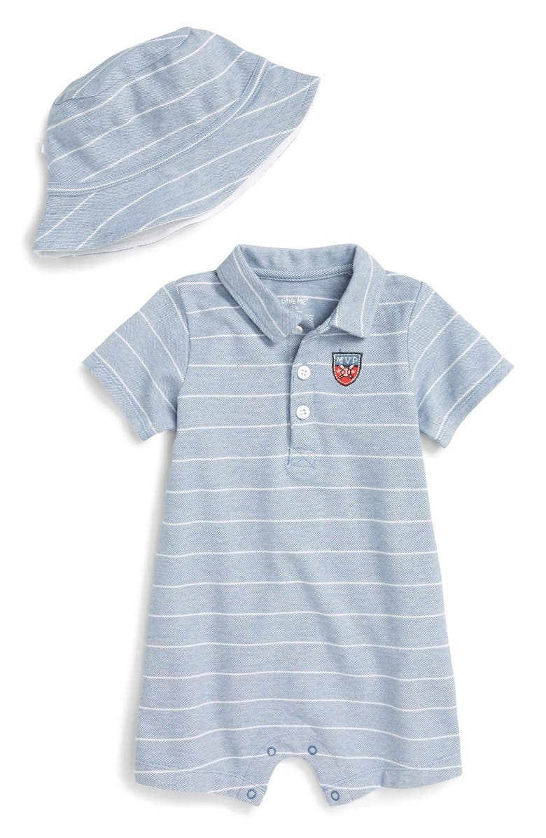 Little Me Polo Romper   Bucket Hat Set (Baby Boys)  d58dcd02a1f