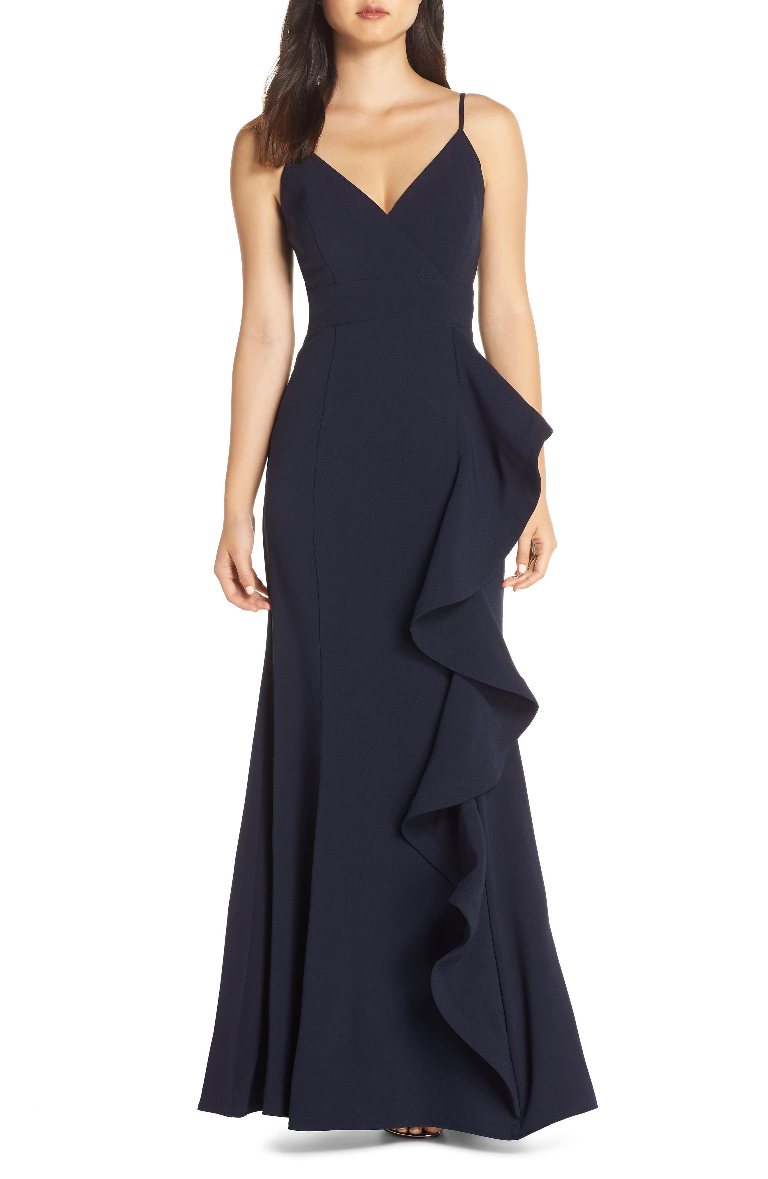 Eliza J Cascade Ruffle Gown, Blue