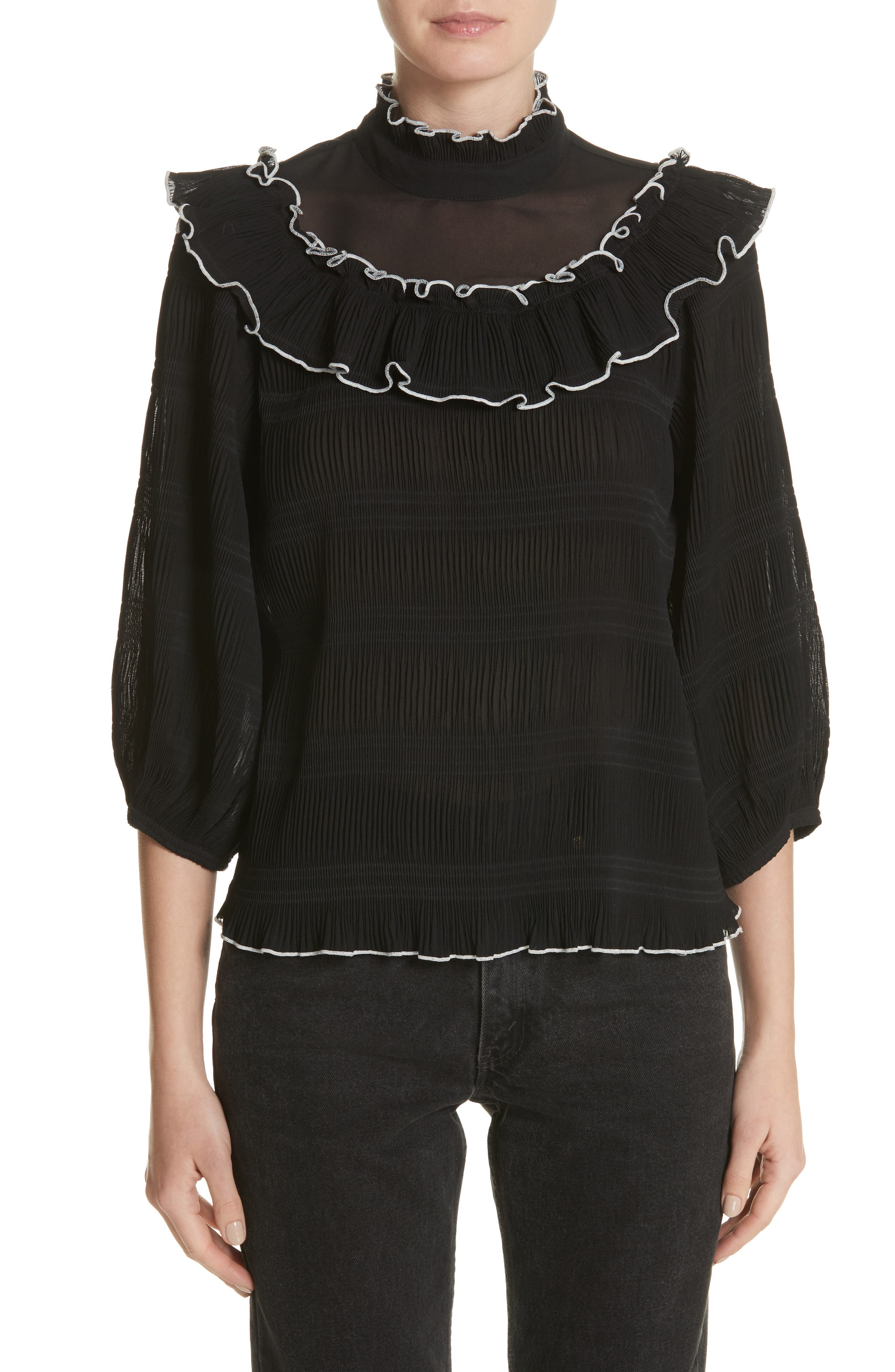 Lowell Ruffle Blouse,                         Main,                         color, 001