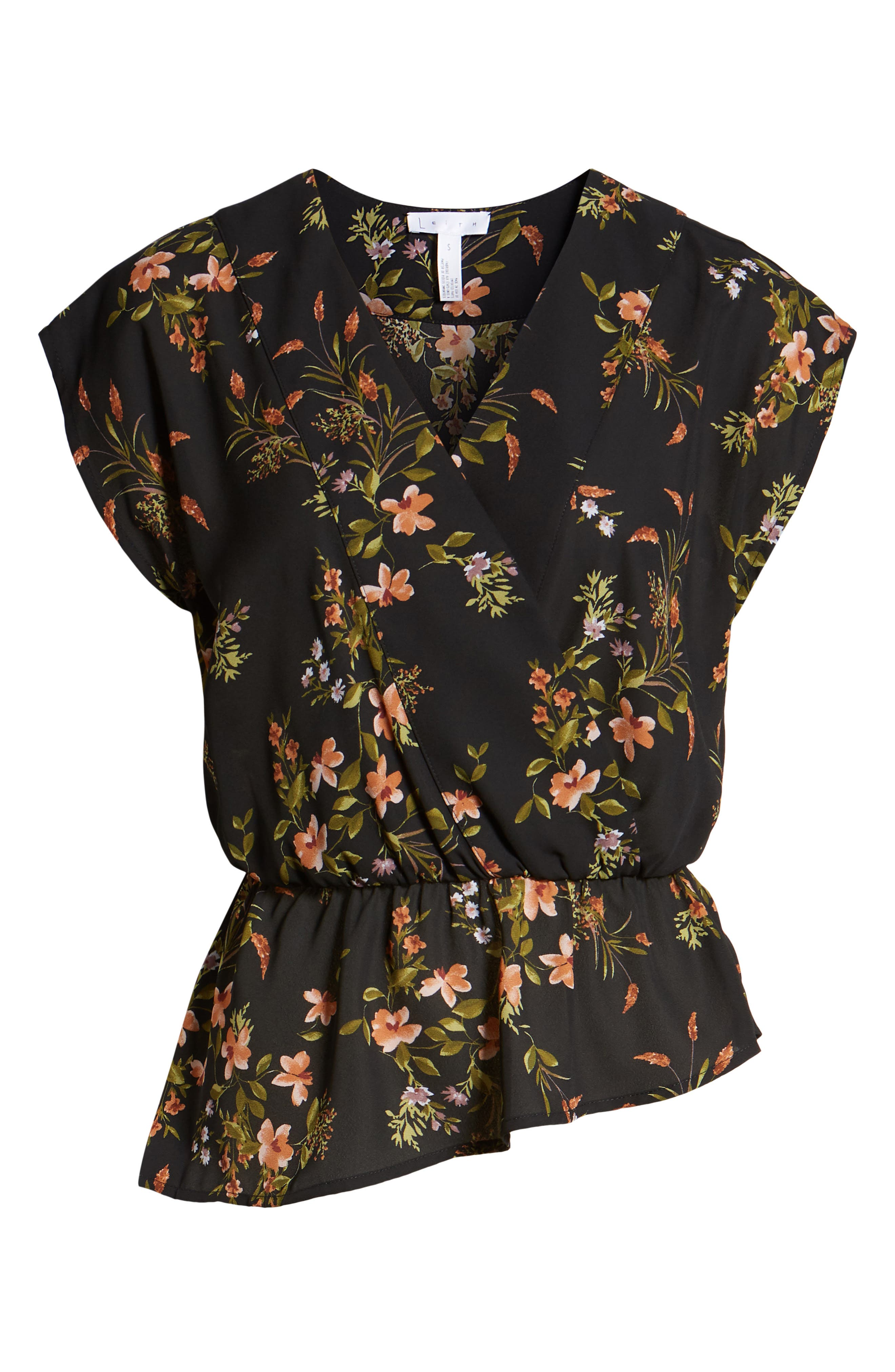 Wrap Style Blouse,                             Alternate thumbnail 6, color,                             BLACK DUSTY FLORAL