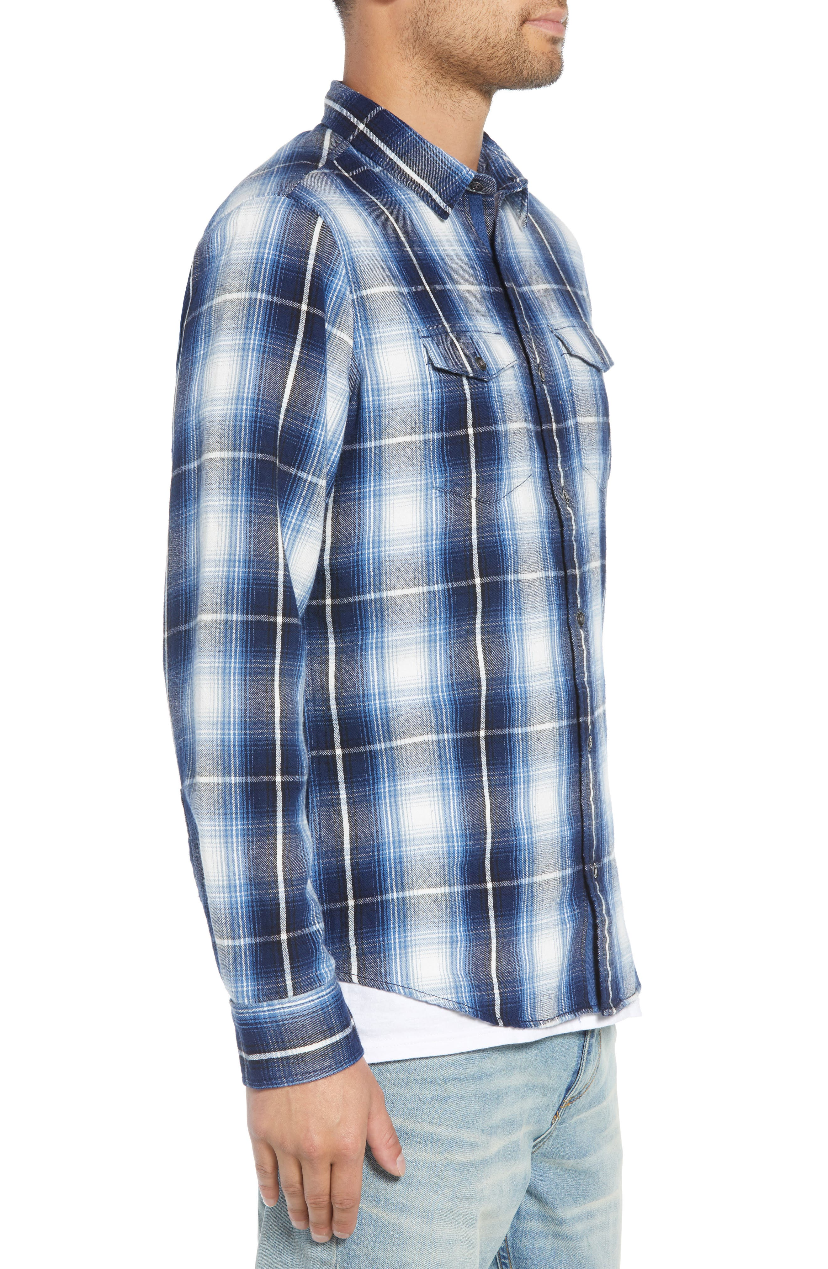 Slim Fit Plaid Flap Pocket Sport Shirt,                             Alternate thumbnail 3, color,                             BLUE CASPIA RIVER PLAID
