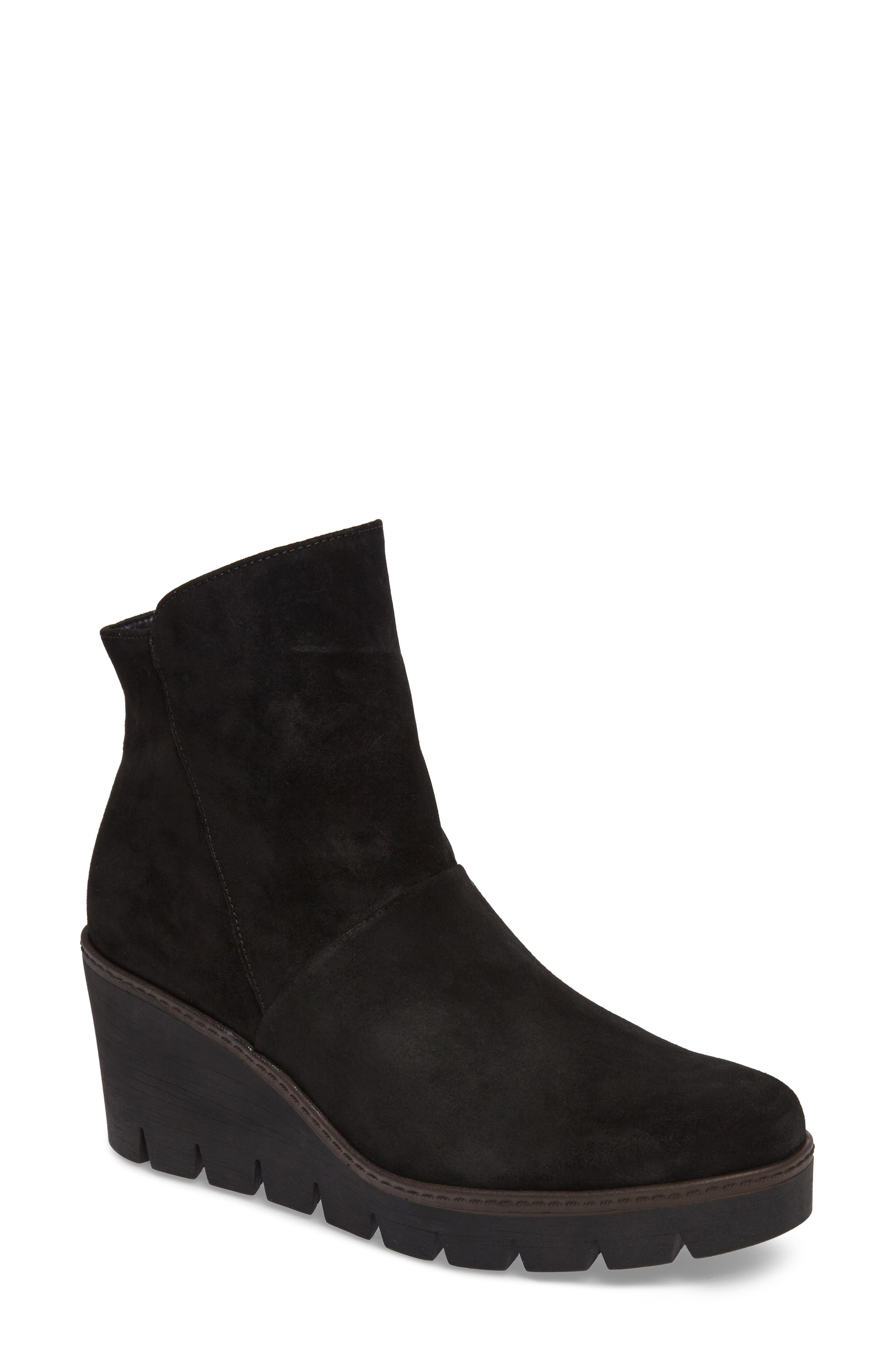 Wedge Bootie,                             Main thumbnail 1, color,                             BLACK SUEDE