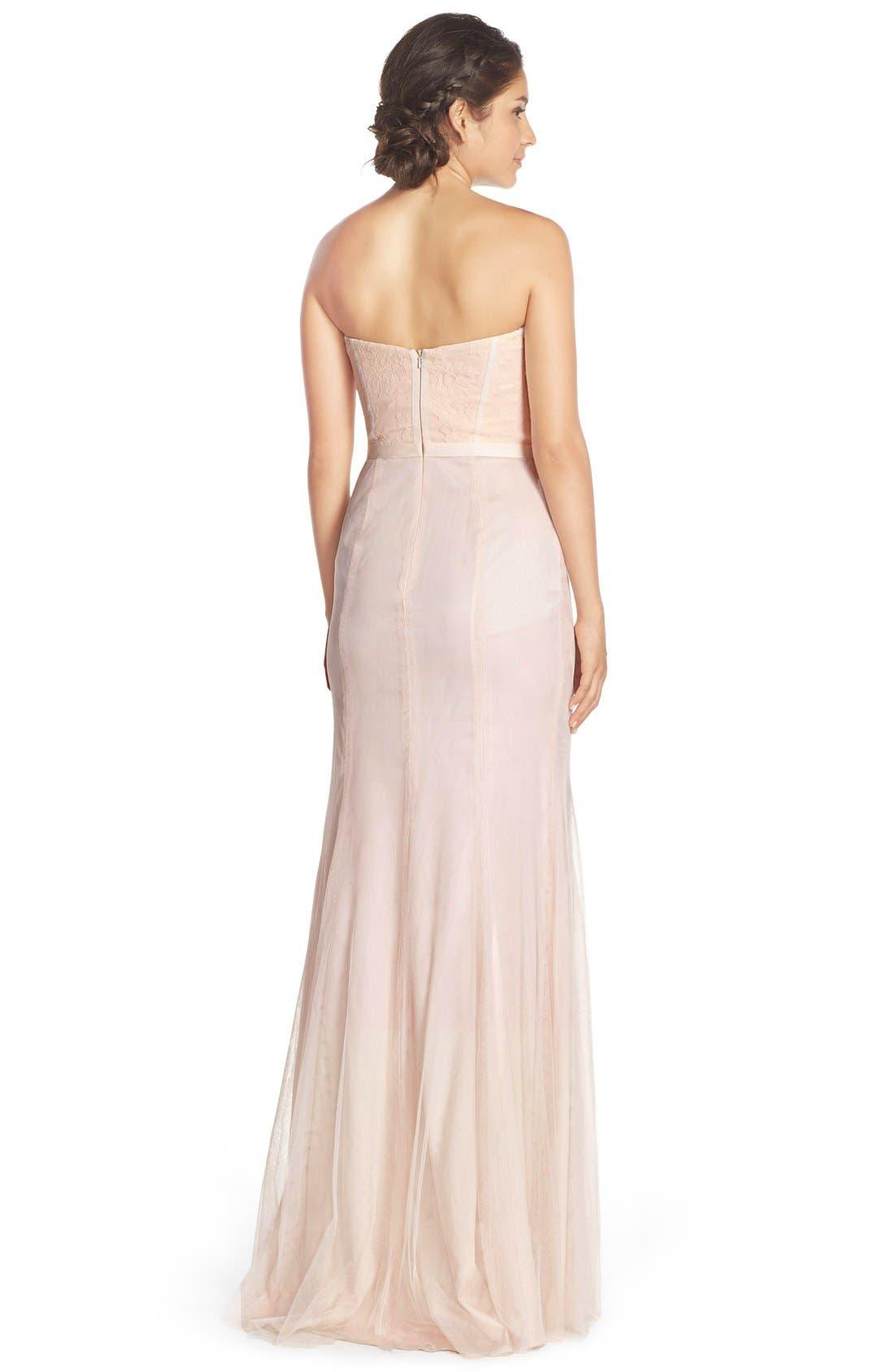 MONIQUE LHUILLIER BRIDESMAIDS,                             Strapless Lace & Tulle Gown,                             Alternate thumbnail 2, color,                             697