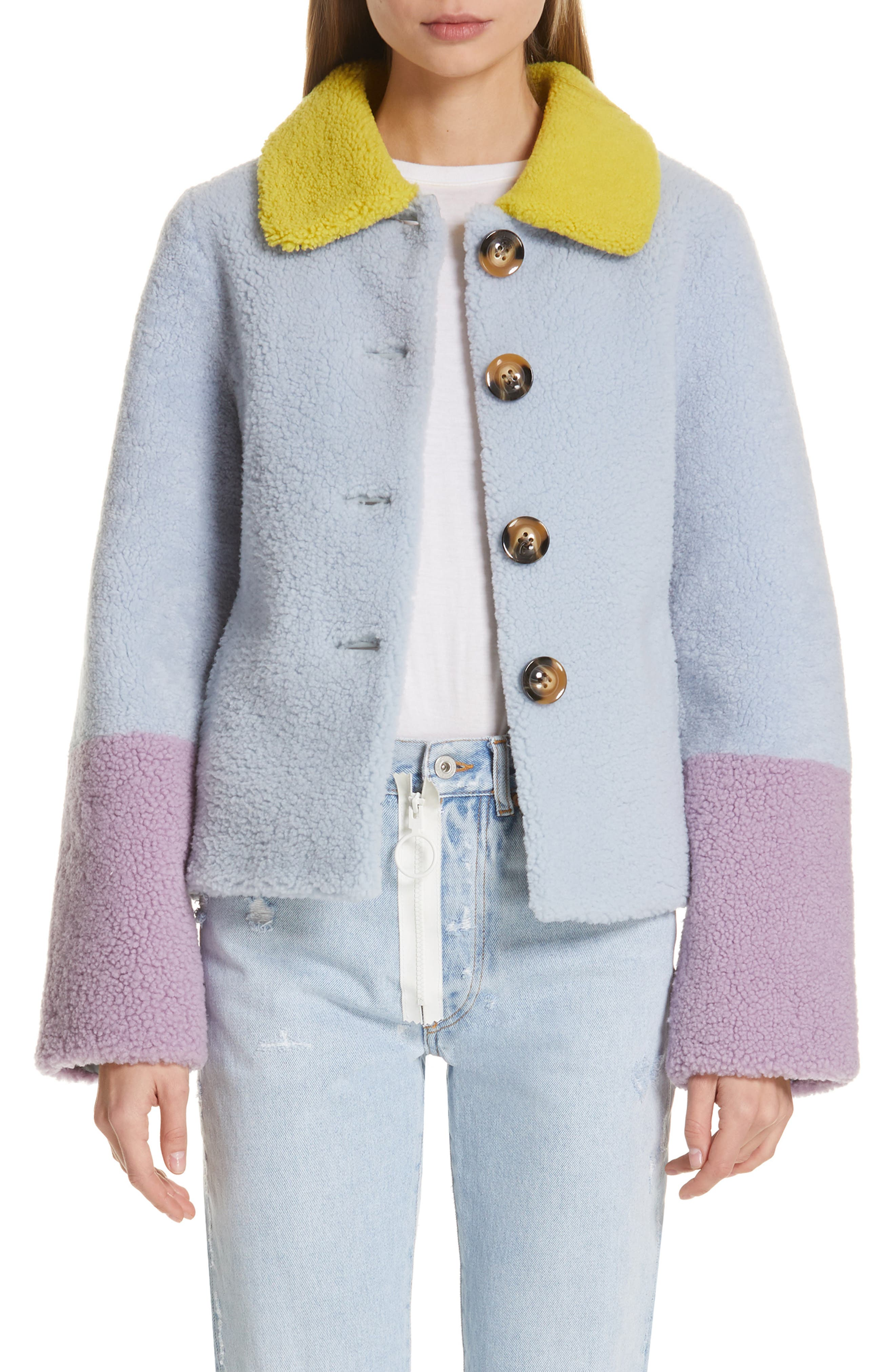 Saks Potts Lucia Genuine Shearling Jacket, Blue