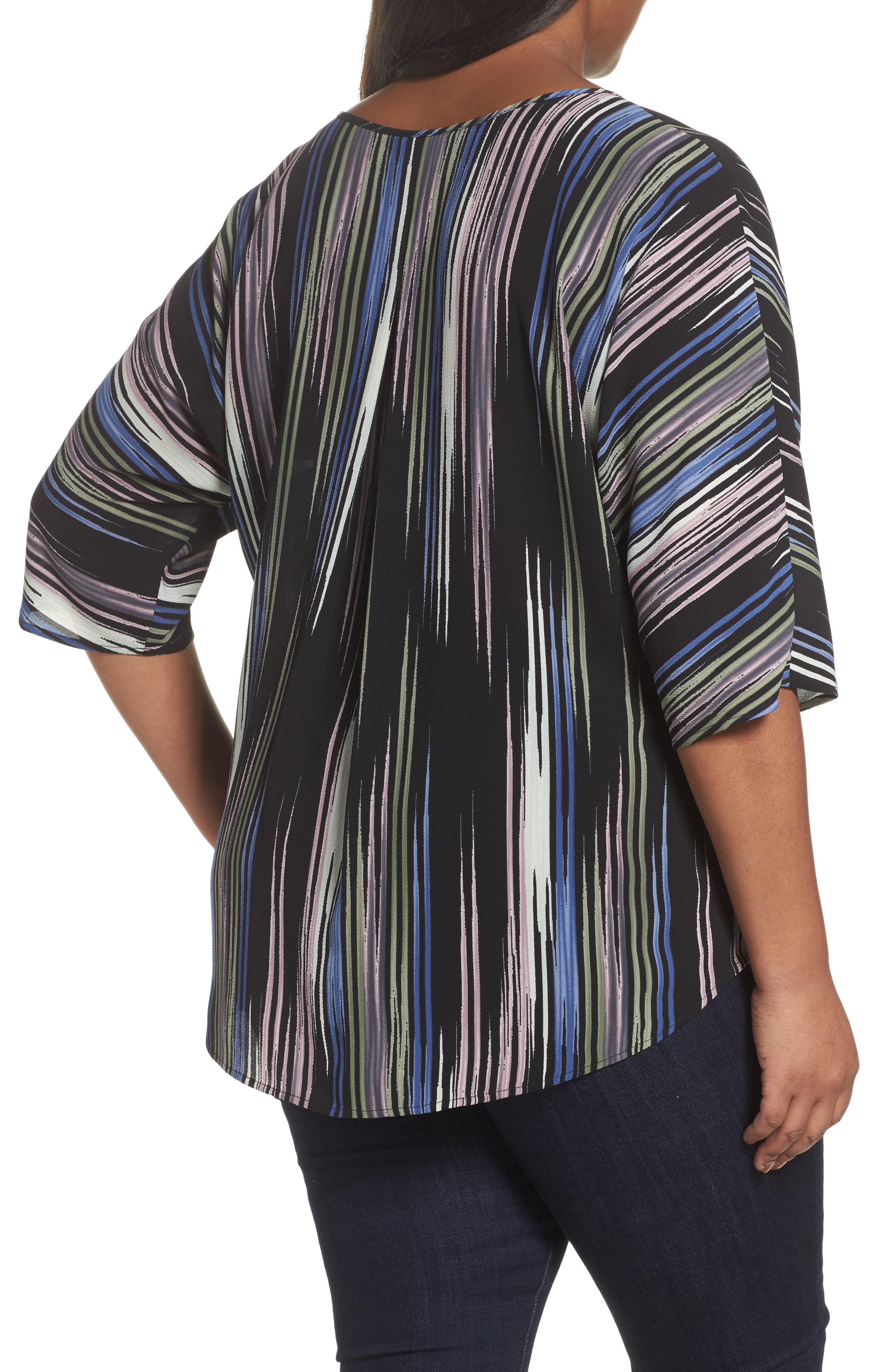 Elbow Sleeve Colorful Peaks Blouse,                             Alternate thumbnail 3, color,