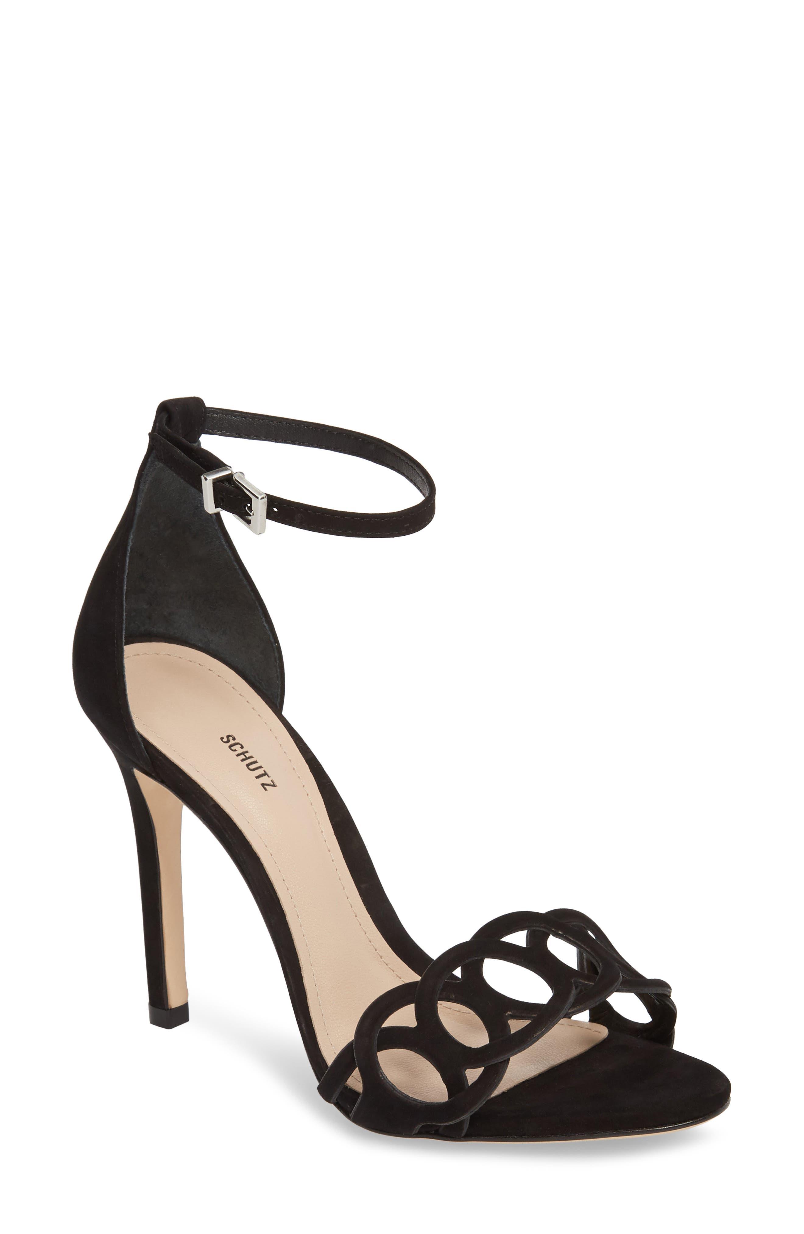 Sthefany Ankle Strap Sandal,                             Main thumbnail 1, color,                             BLACK LEATHER