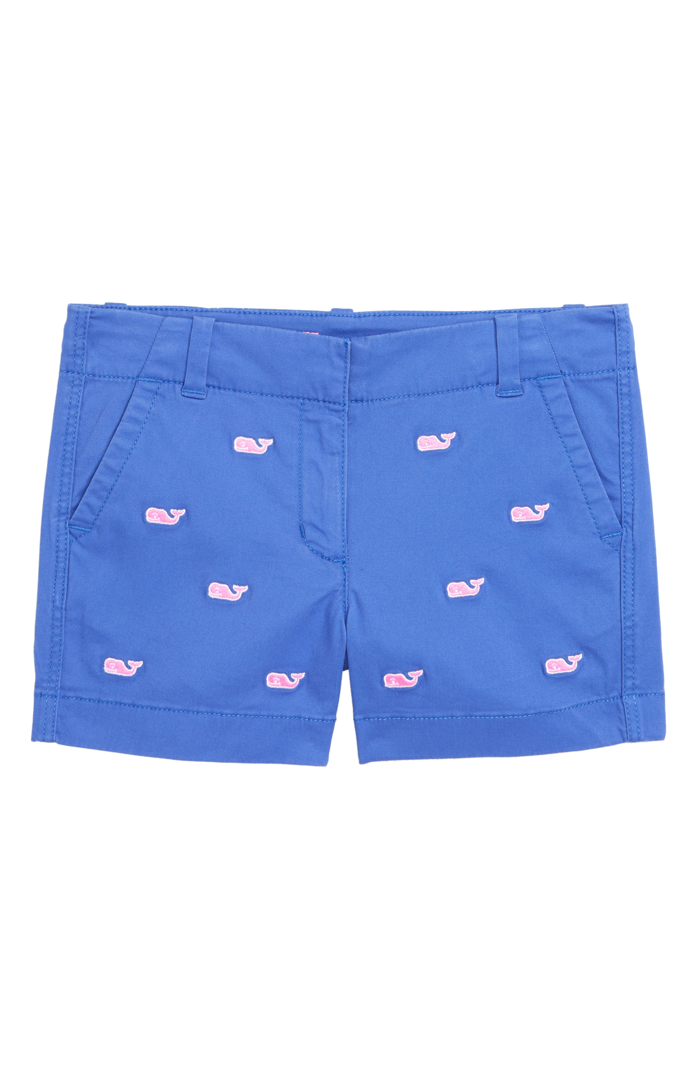 Whale Embroidered Chino Shorts,                             Main thumbnail 1, color,                             MARLIN
