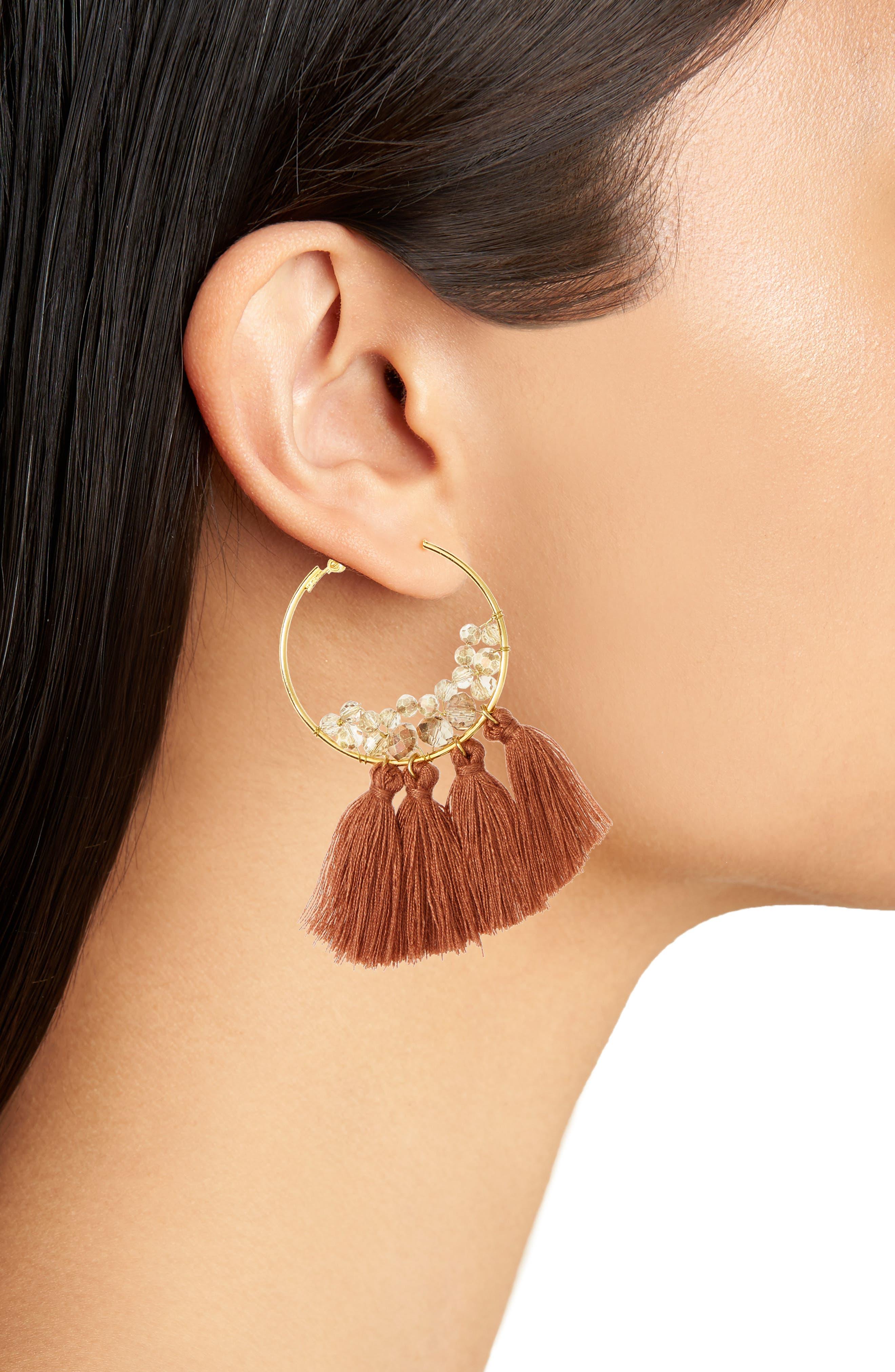 Tassel Hoop Earrings,                             Alternate thumbnail 2, color,                             200