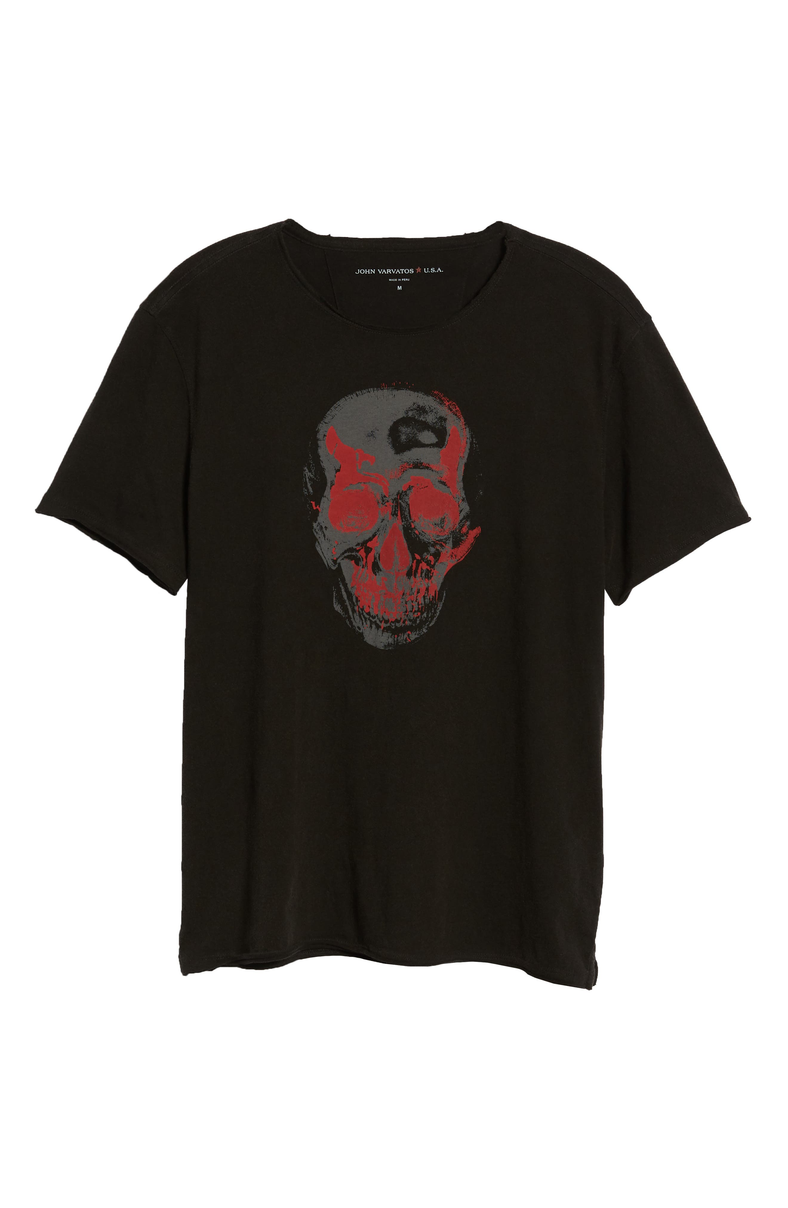 Skull Crewneck T-Shirt,                             Alternate thumbnail 6, color,                             001