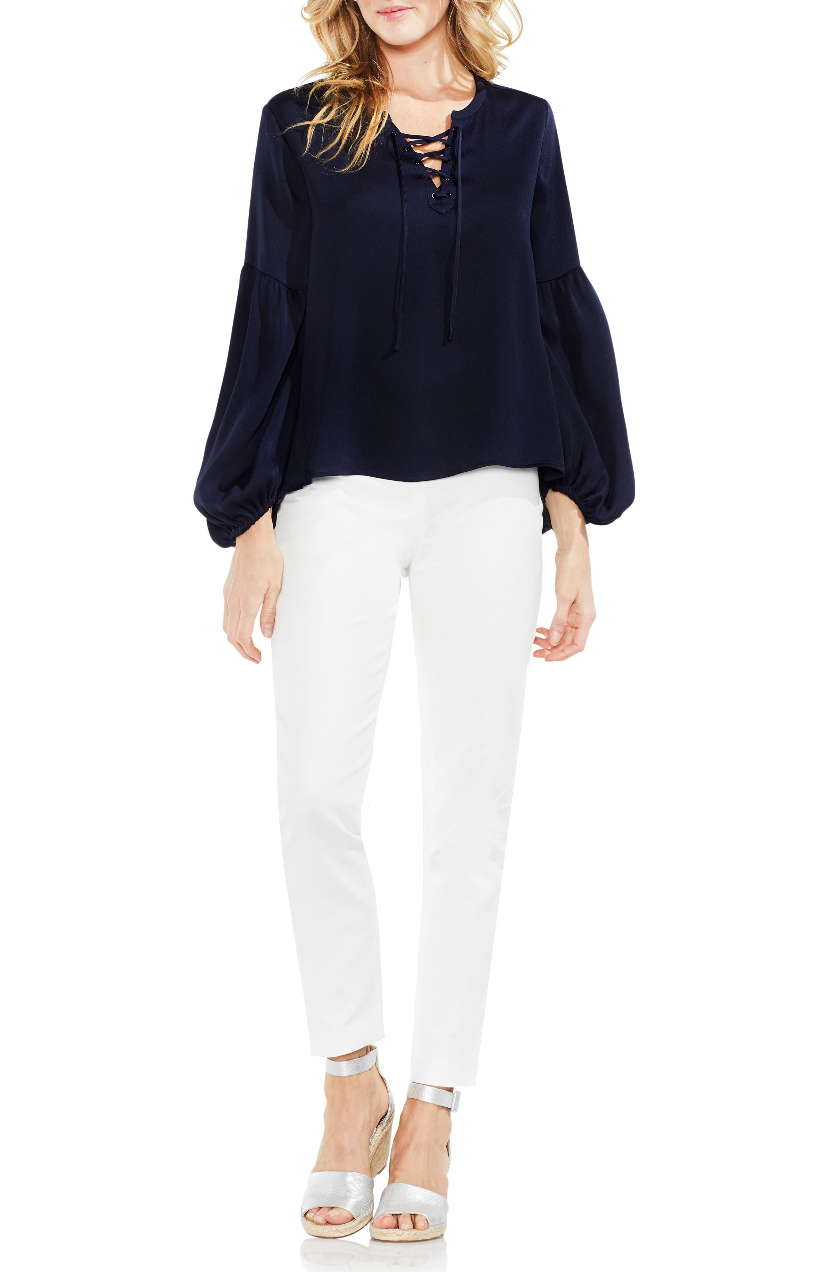 Lace-Up Hammered Satin Blouse,                             Alternate thumbnail 23, color,