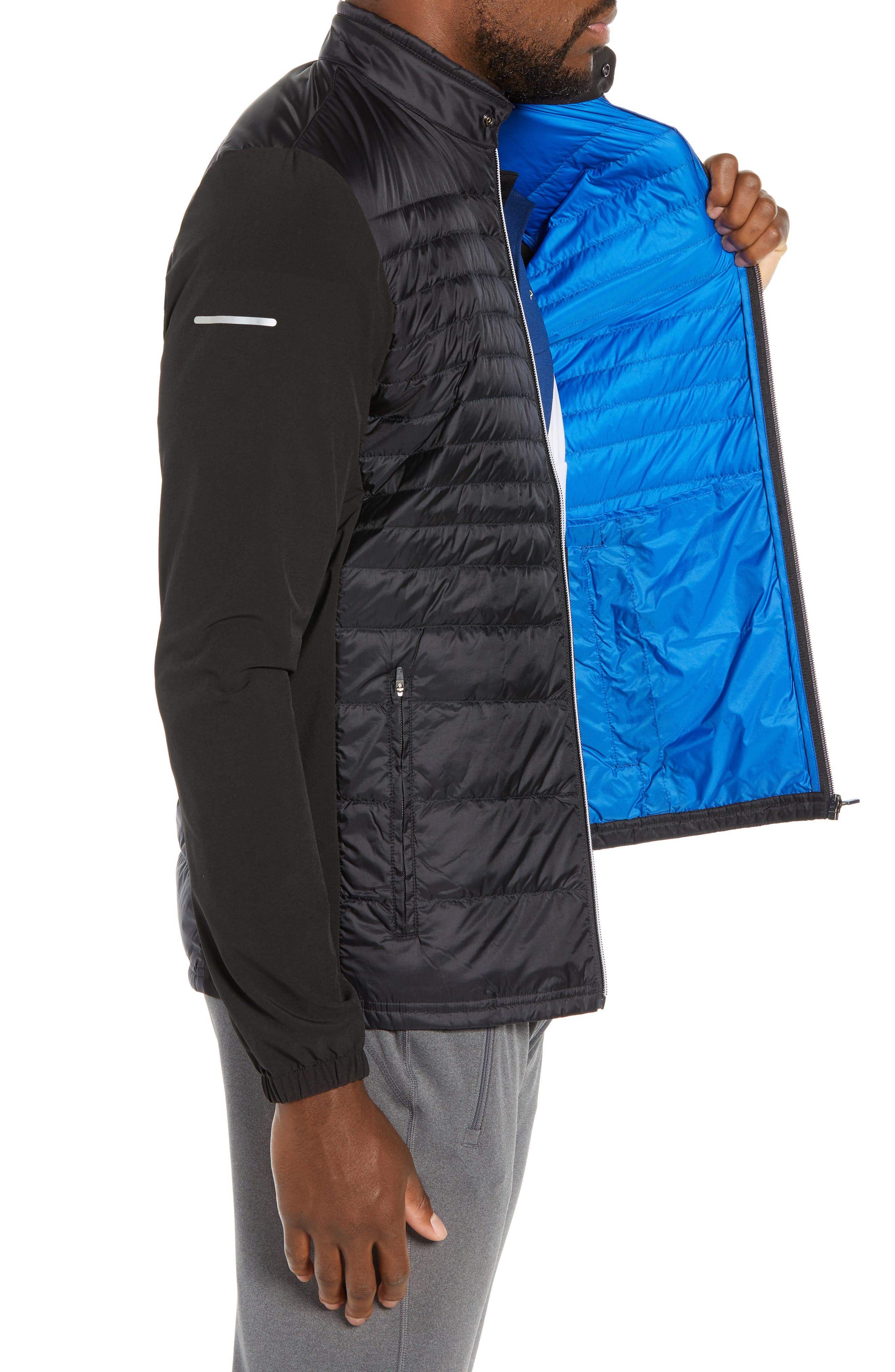 Sport Water Resistant Quilted Down Golf Jacket,                             Alternate thumbnail 3, color,                             010