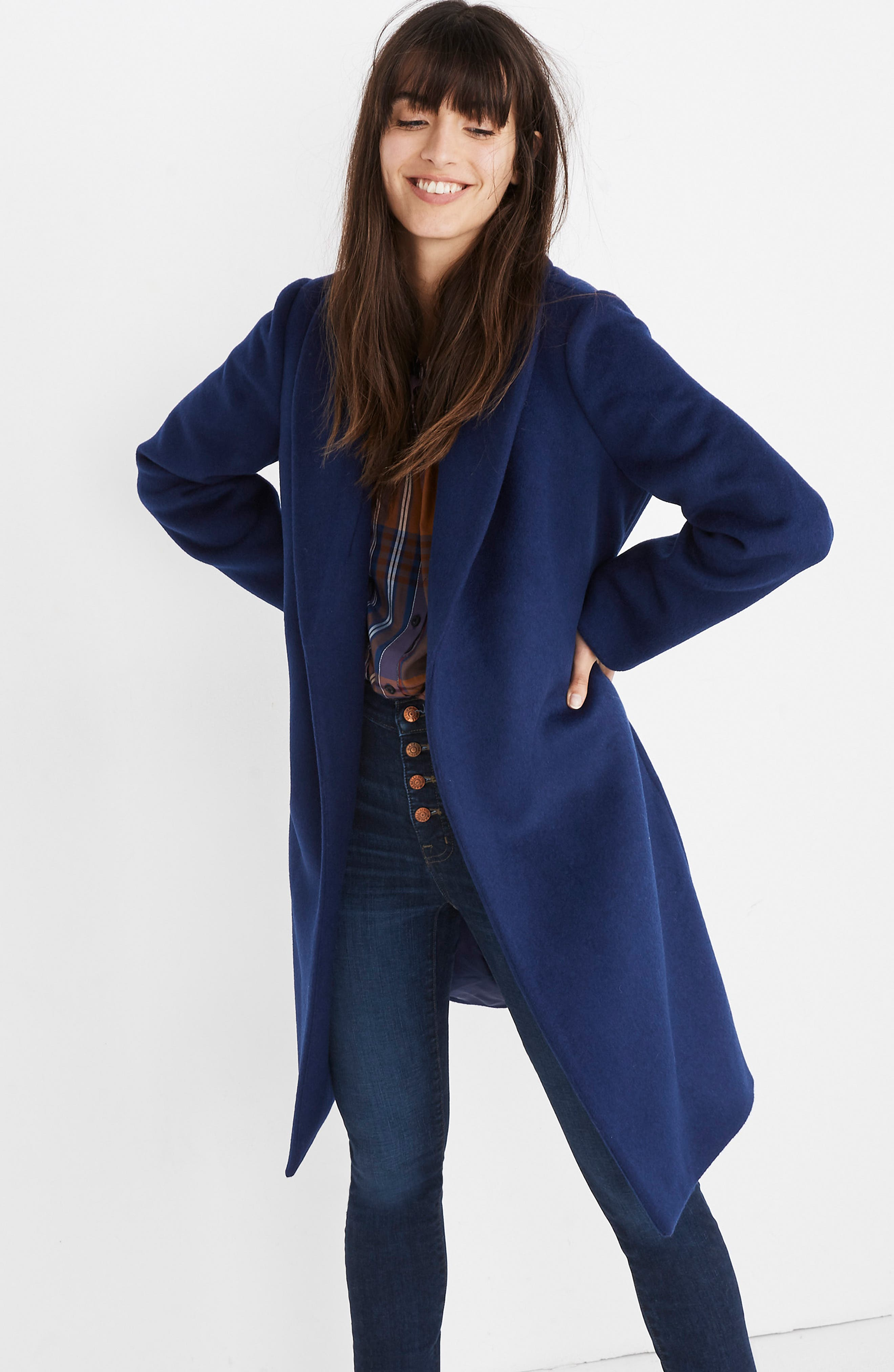 Shawl Collar Wrap Coat,                             Alternate thumbnail 4, color,                             NIGHT SKY