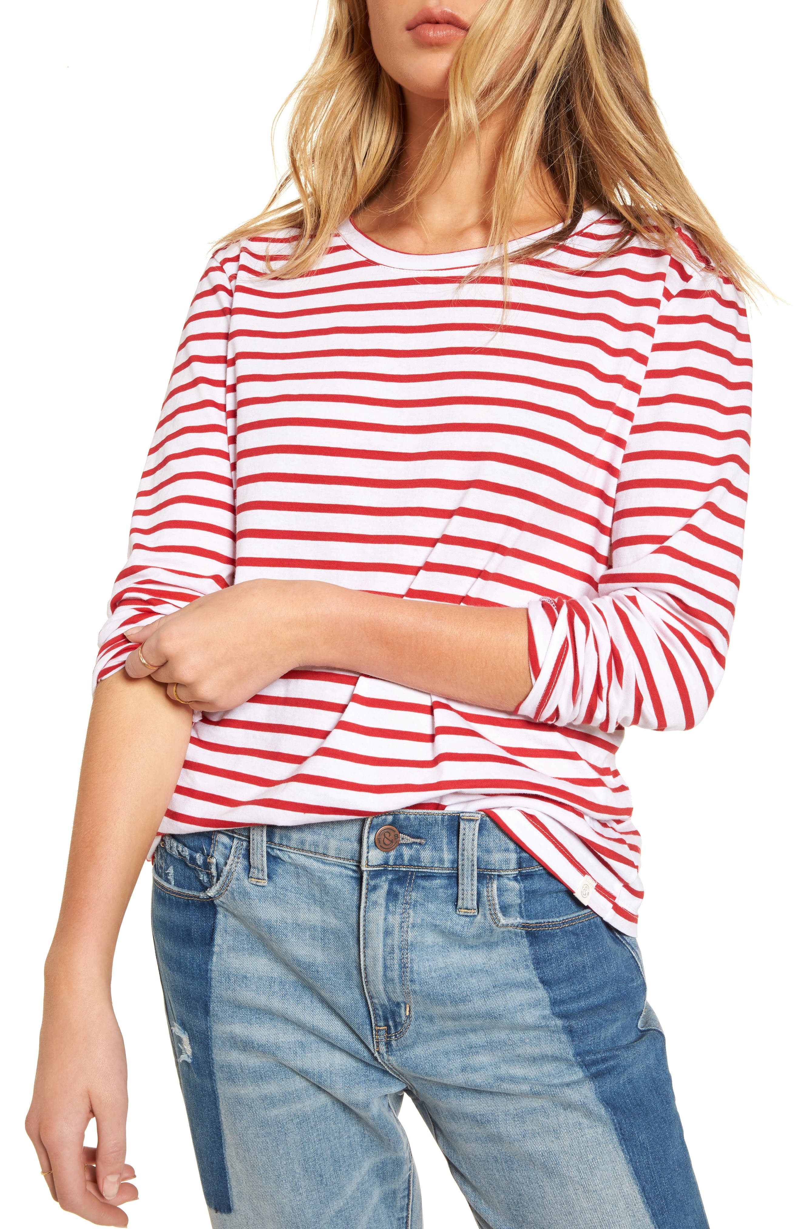 Varsity Stripe Cotton Tee,                             Main thumbnail 5, color,