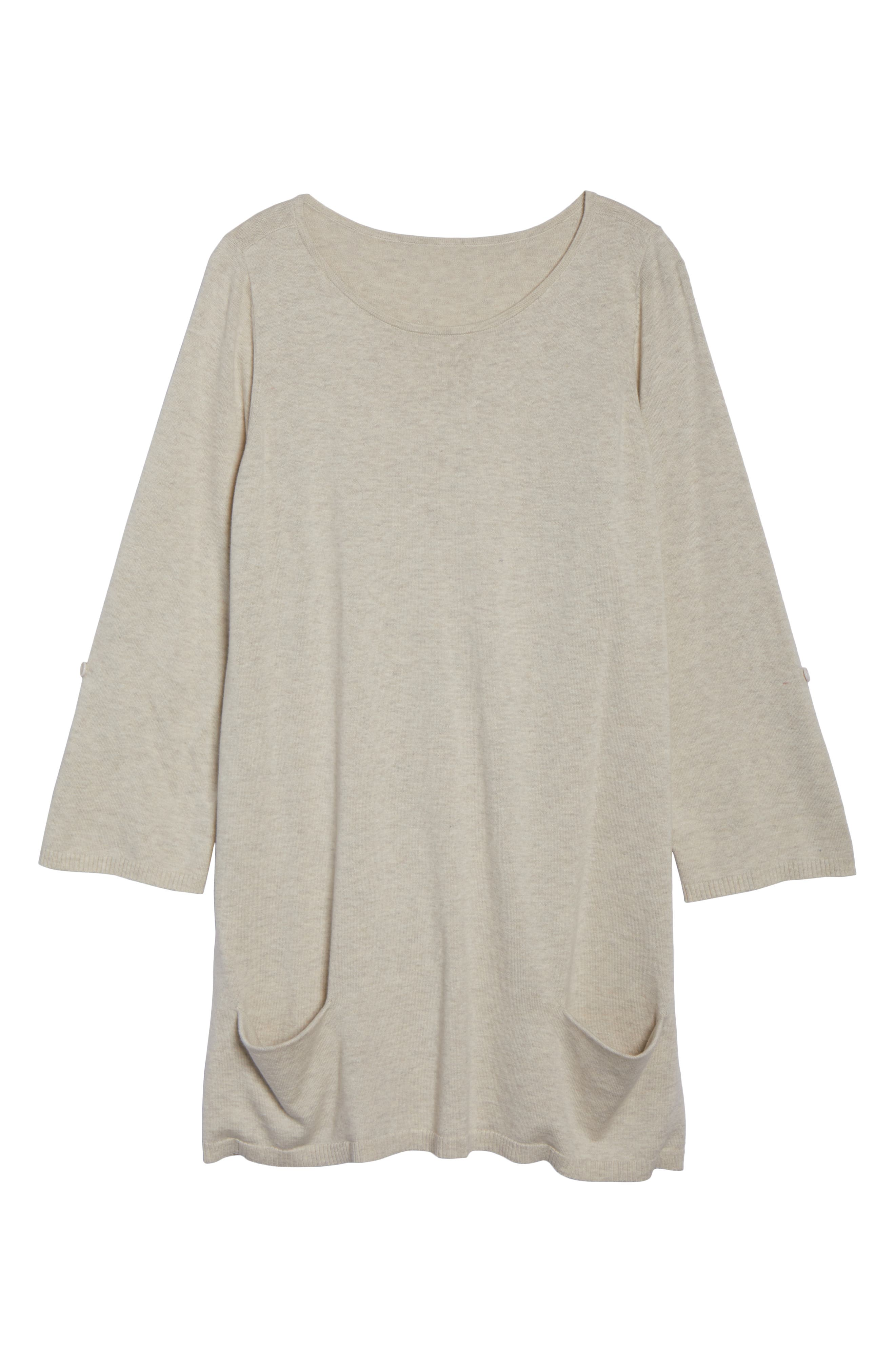 CASLON<SUP>®</SUP>,                             Roll Sleeve Tunic Sweater,                             Alternate thumbnail 6, color,                             BEIGE OATMEAL LIGHT HEATHER