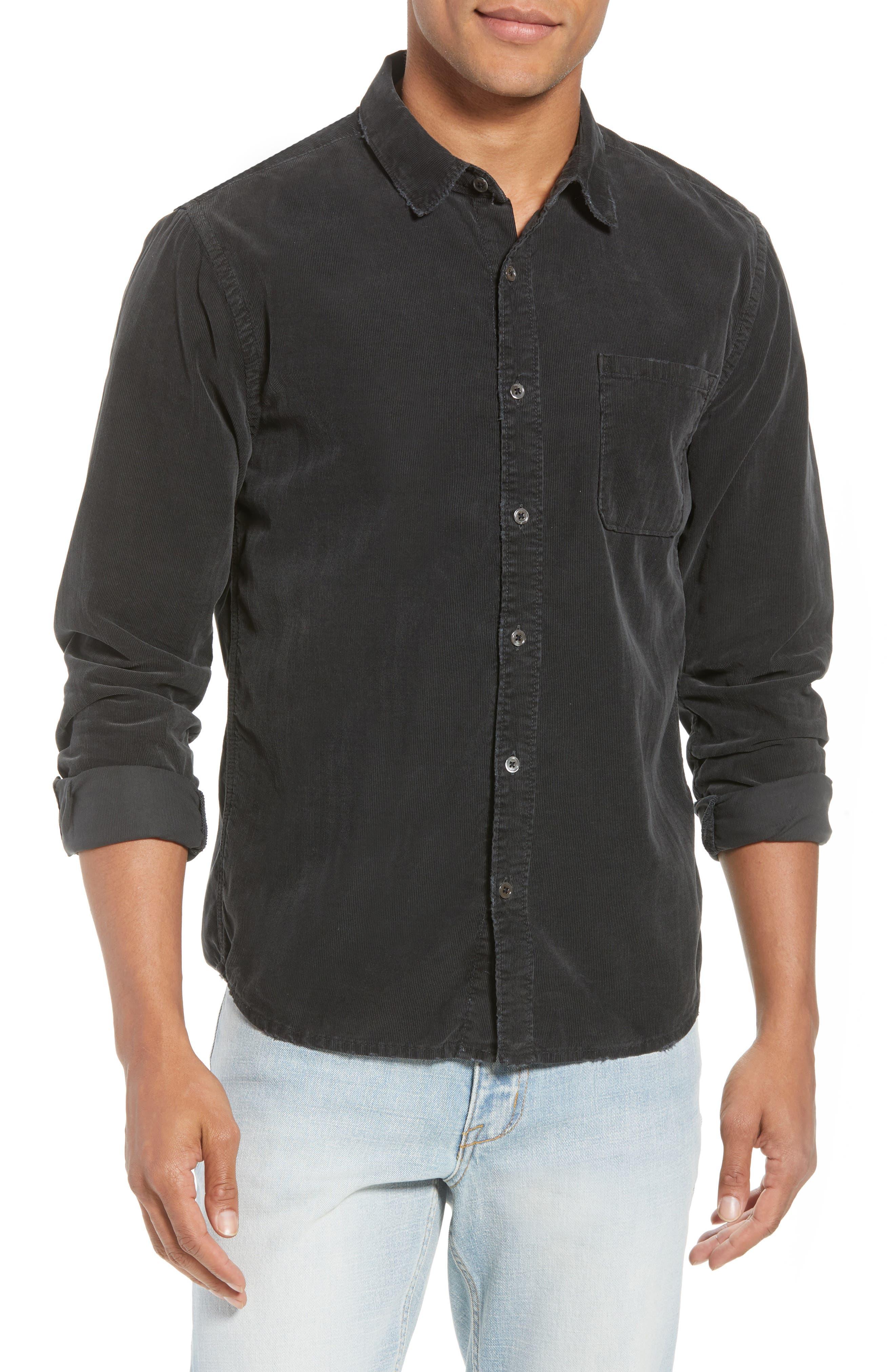 Slim Fit Corduroy Shirt,                             Main thumbnail 1, color,                             001