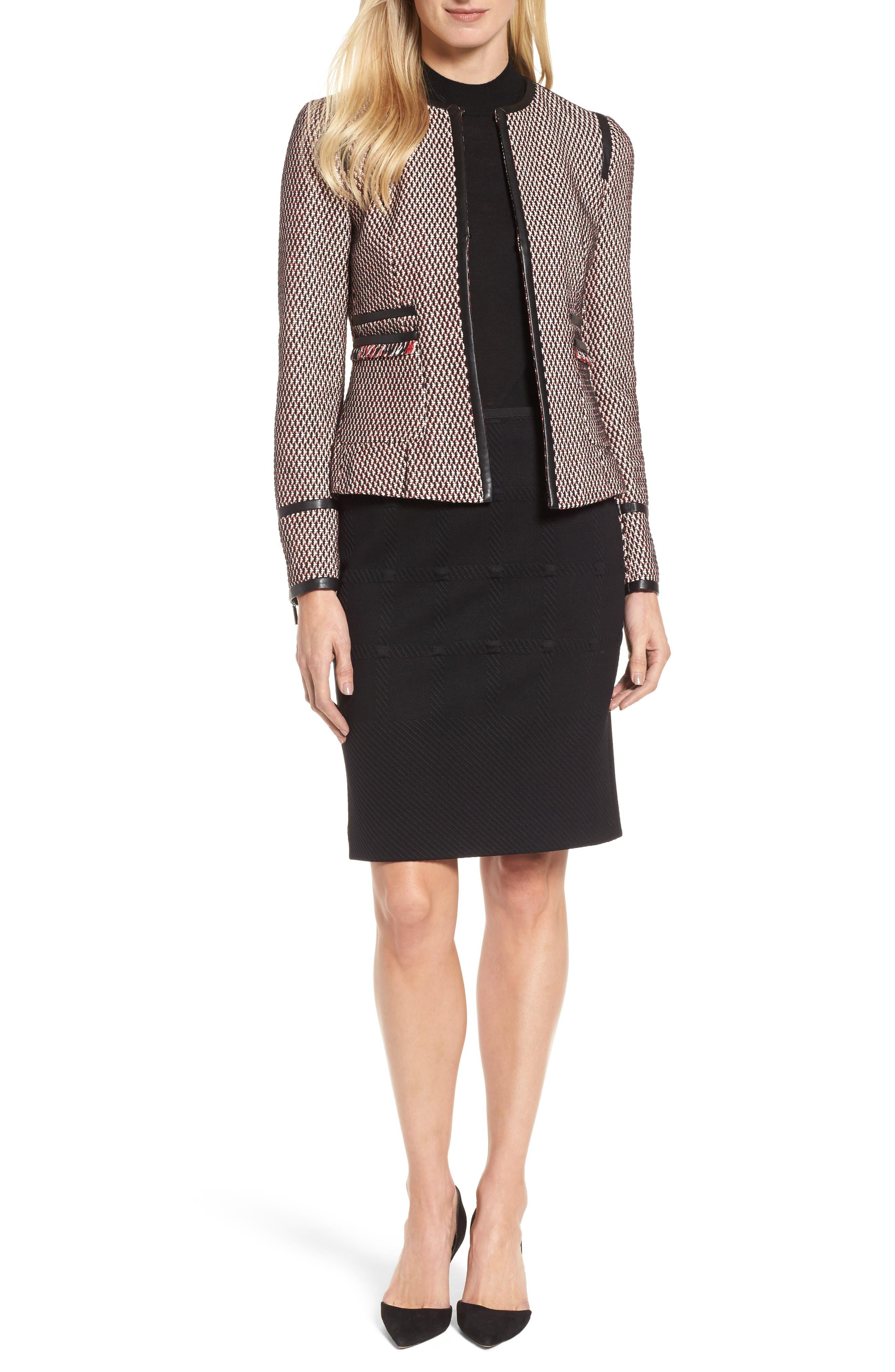 Keili Collarless Tweed Jacket,                             Alternate thumbnail 7, color,                             903