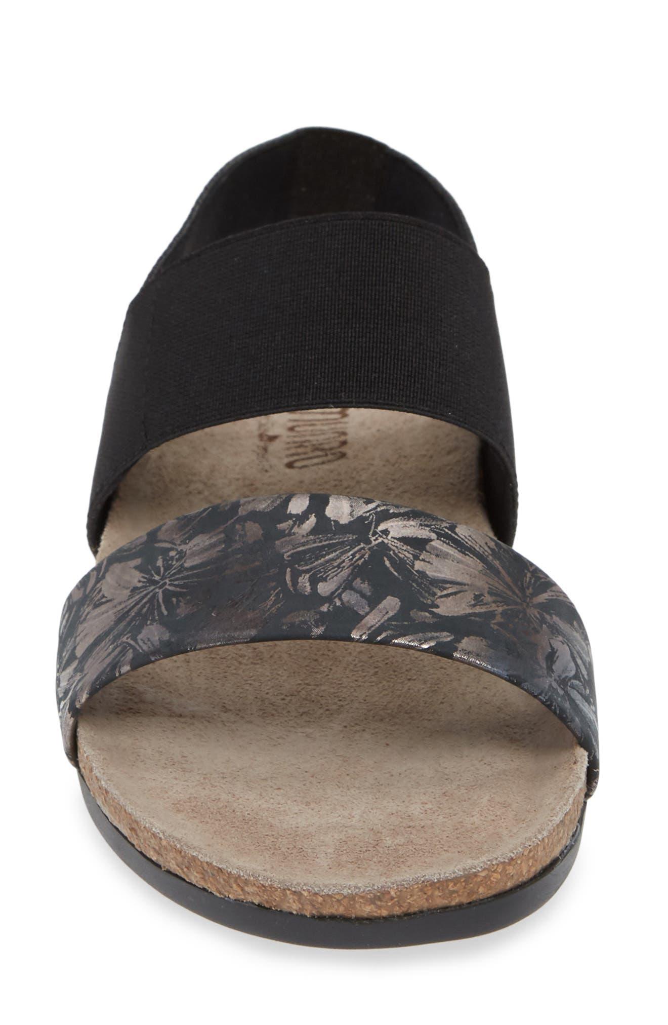 'Pisces' Sandal,                             Alternate thumbnail 4, color,                             DARK FLORAL PRINT LEATHER
