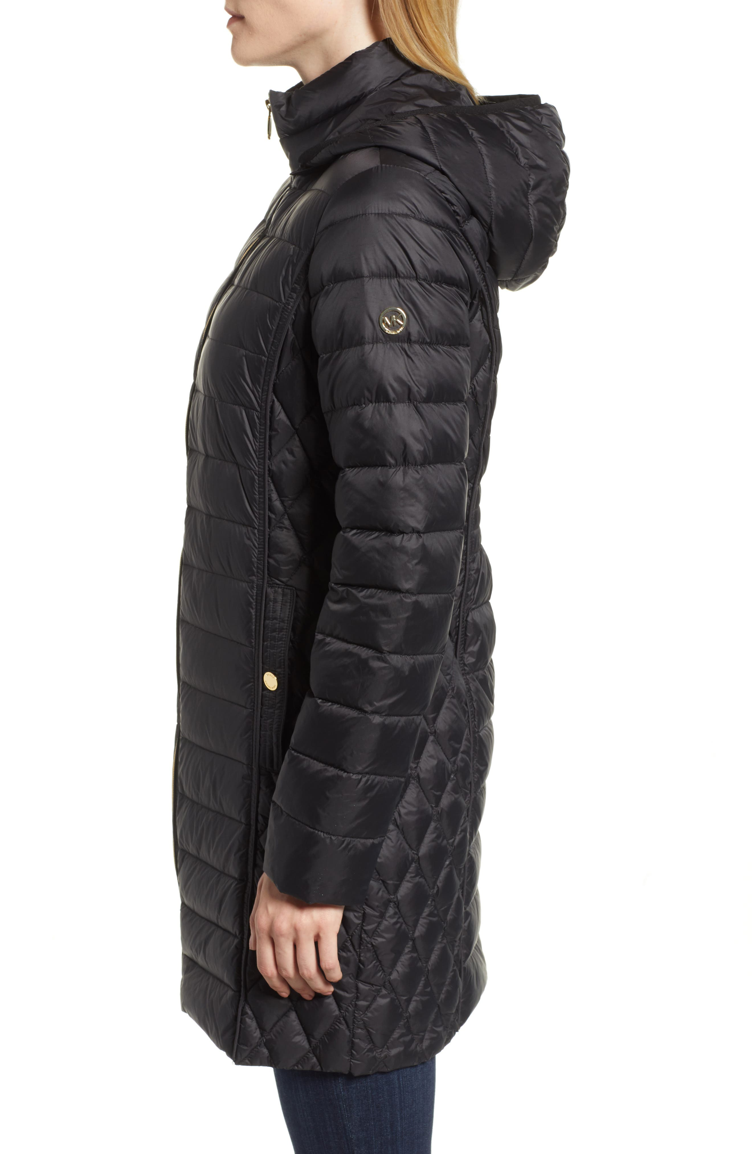 Packable Down Puffer Jacket,                             Alternate thumbnail 3, color,                             BLACK