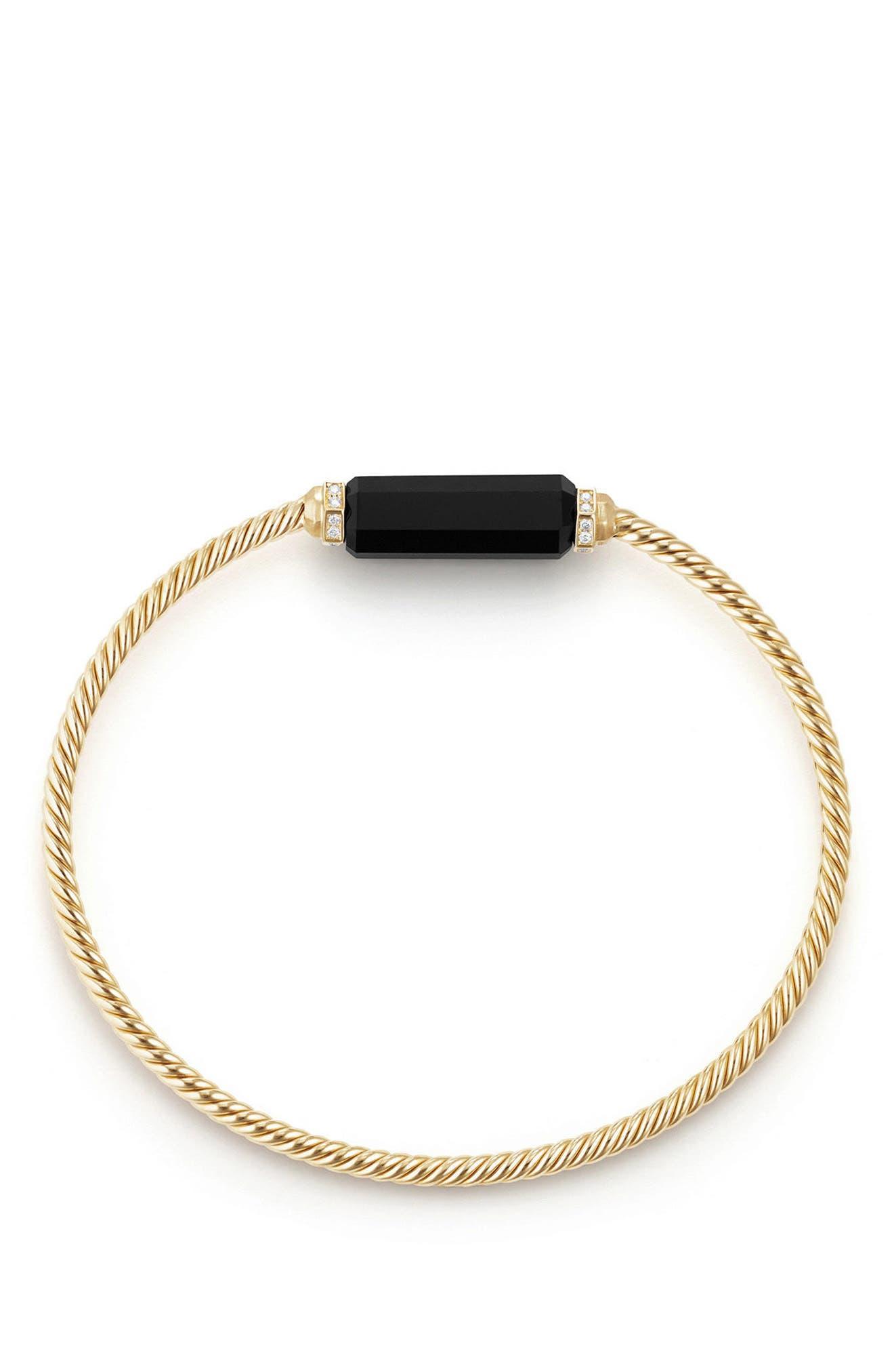 Barrels Bracelet with Diamonds in 18K Gold,                             Alternate thumbnail 2, color,                             BLACK ONYX