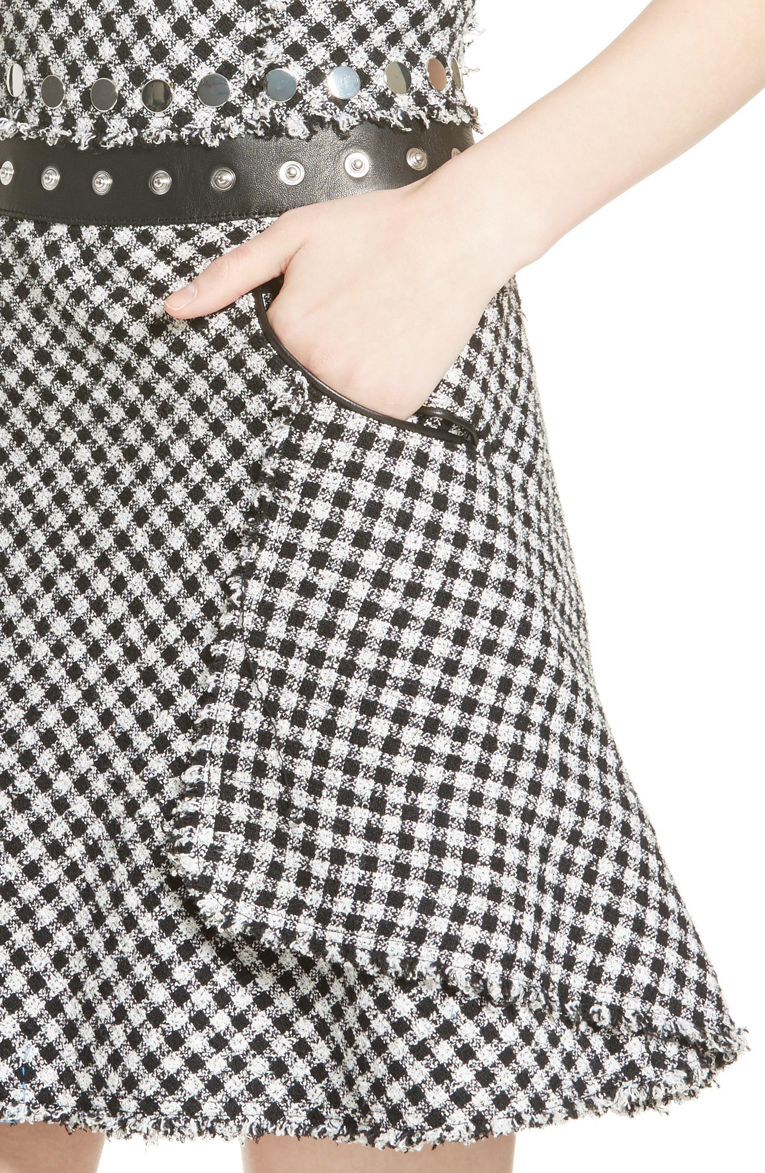 Check Tweed Dress,                             Alternate thumbnail 4, color,                             001