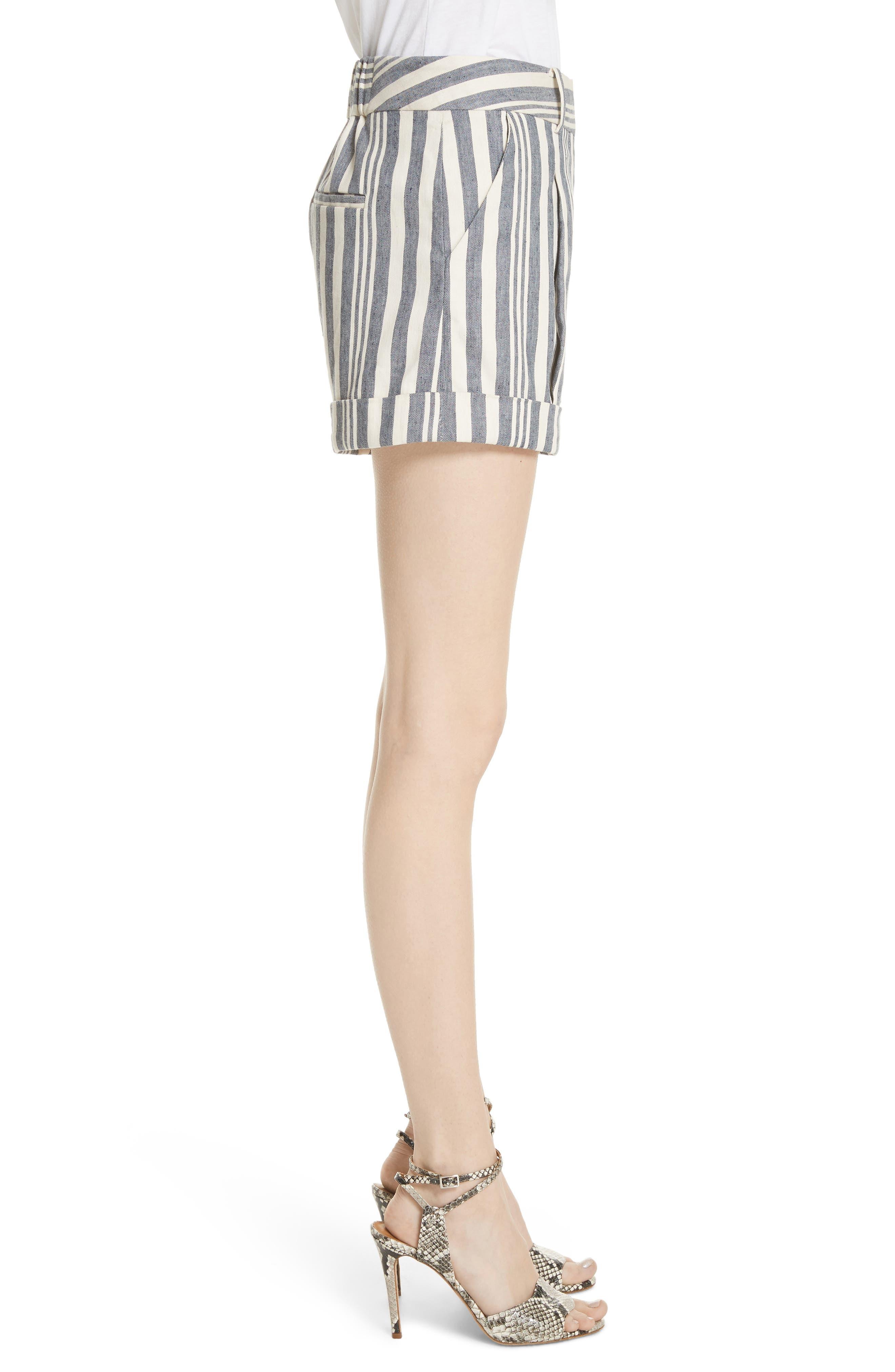Carito Stripe Linen & Cotton Shorts,                             Alternate thumbnail 3, color,                             413