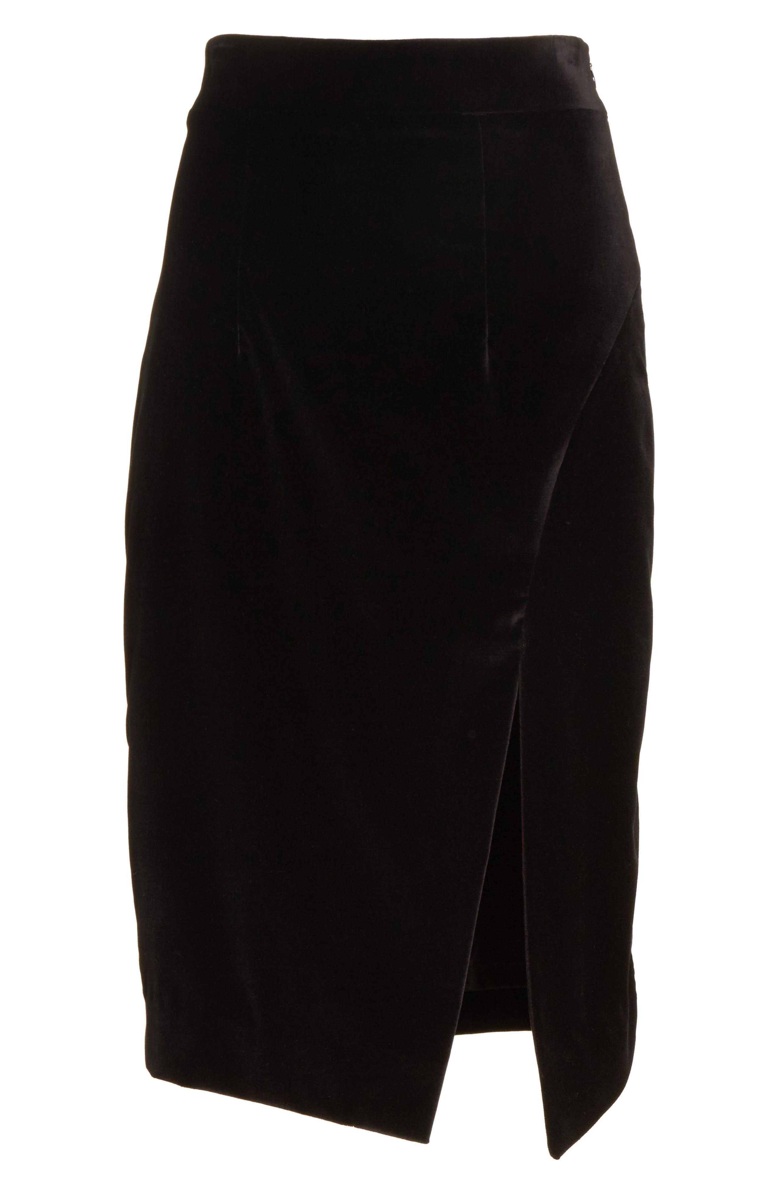 Robin Velveteen Faux Wrap Skirt,                             Alternate thumbnail 6, color,                             001
