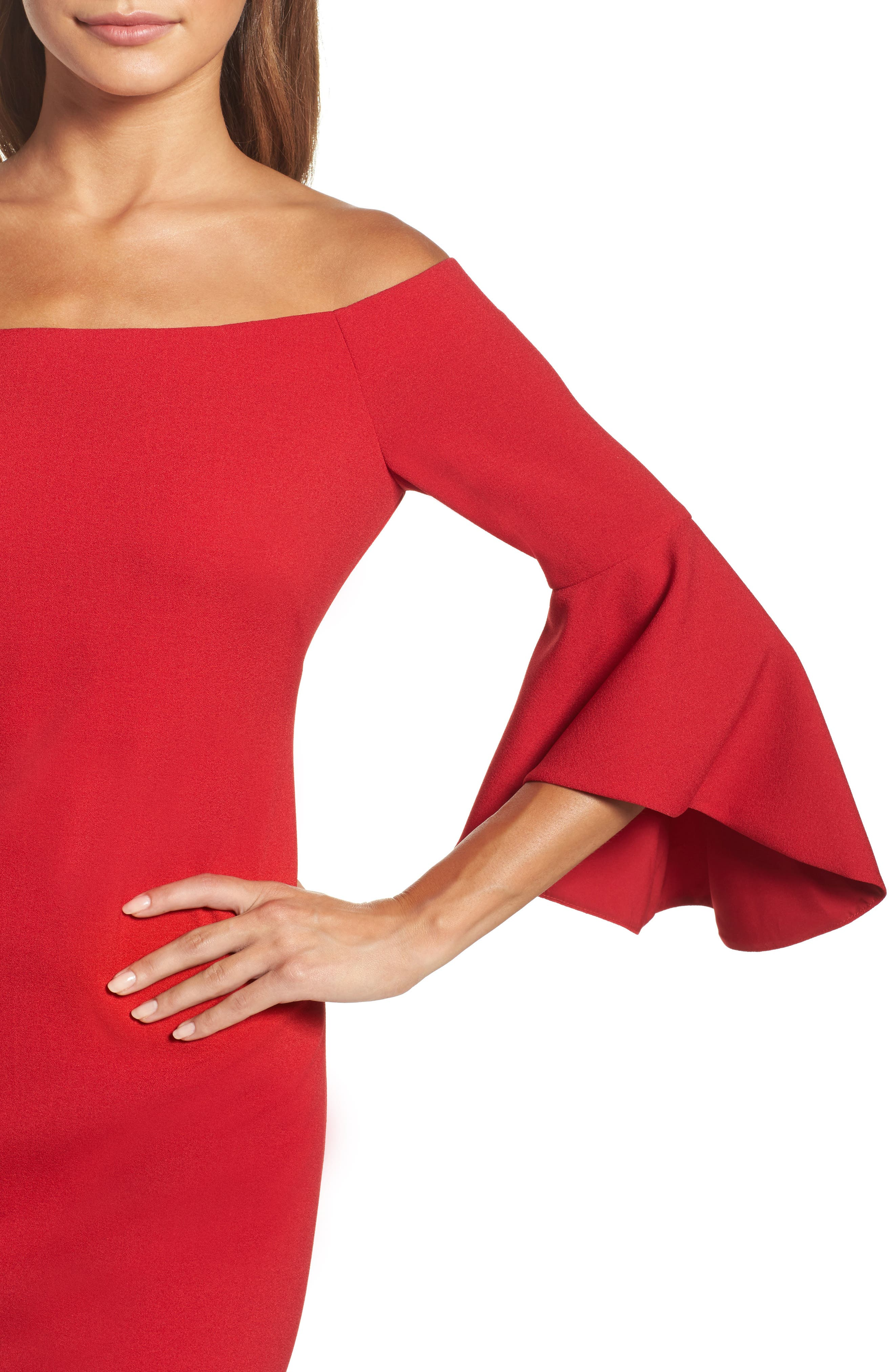 Off the Shoulder Dress,                             Alternate thumbnail 4, color,                             RED JESTER