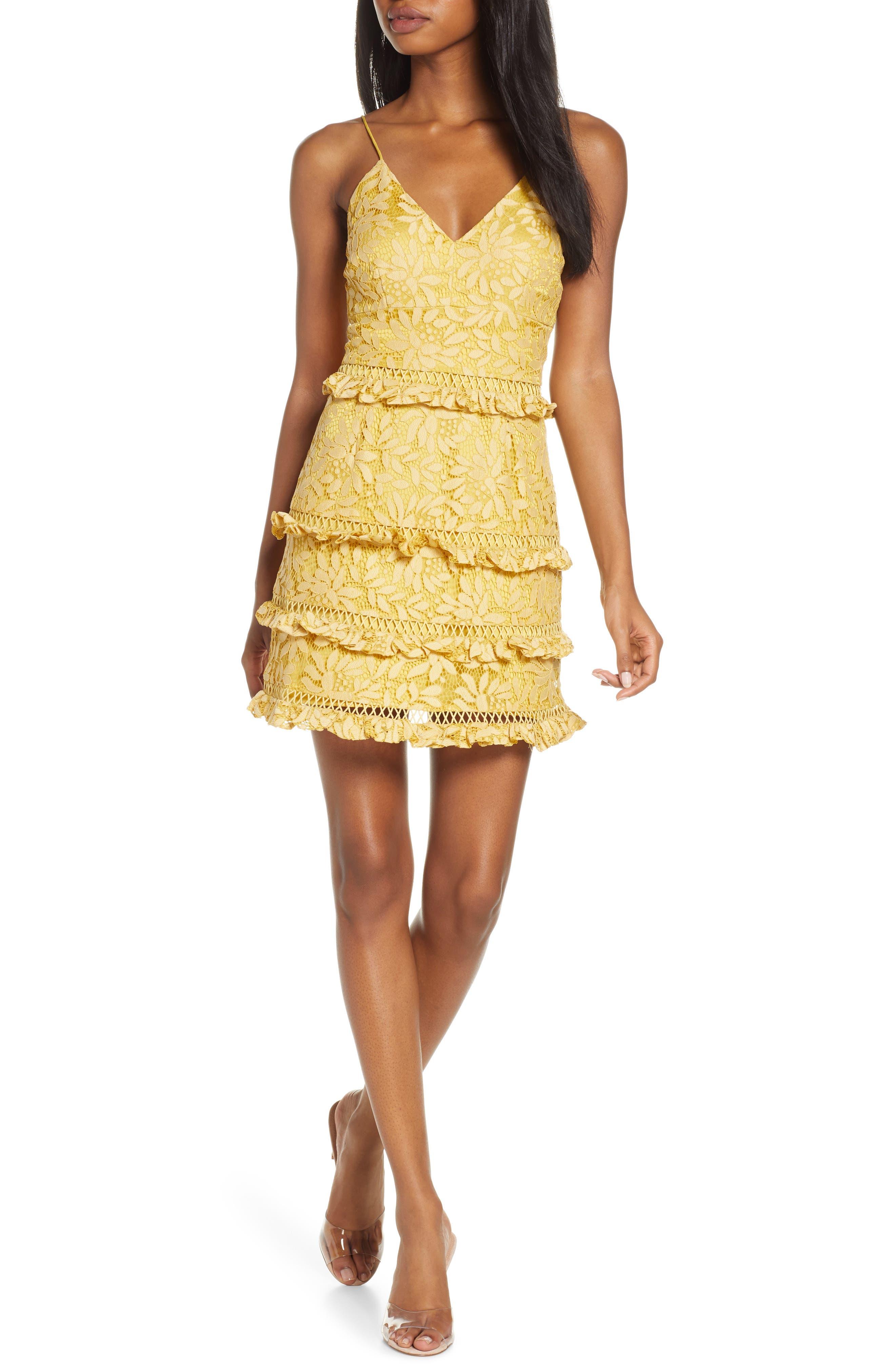 Keepsake The Label Imagine Lace Tiered Minidress, Yellow