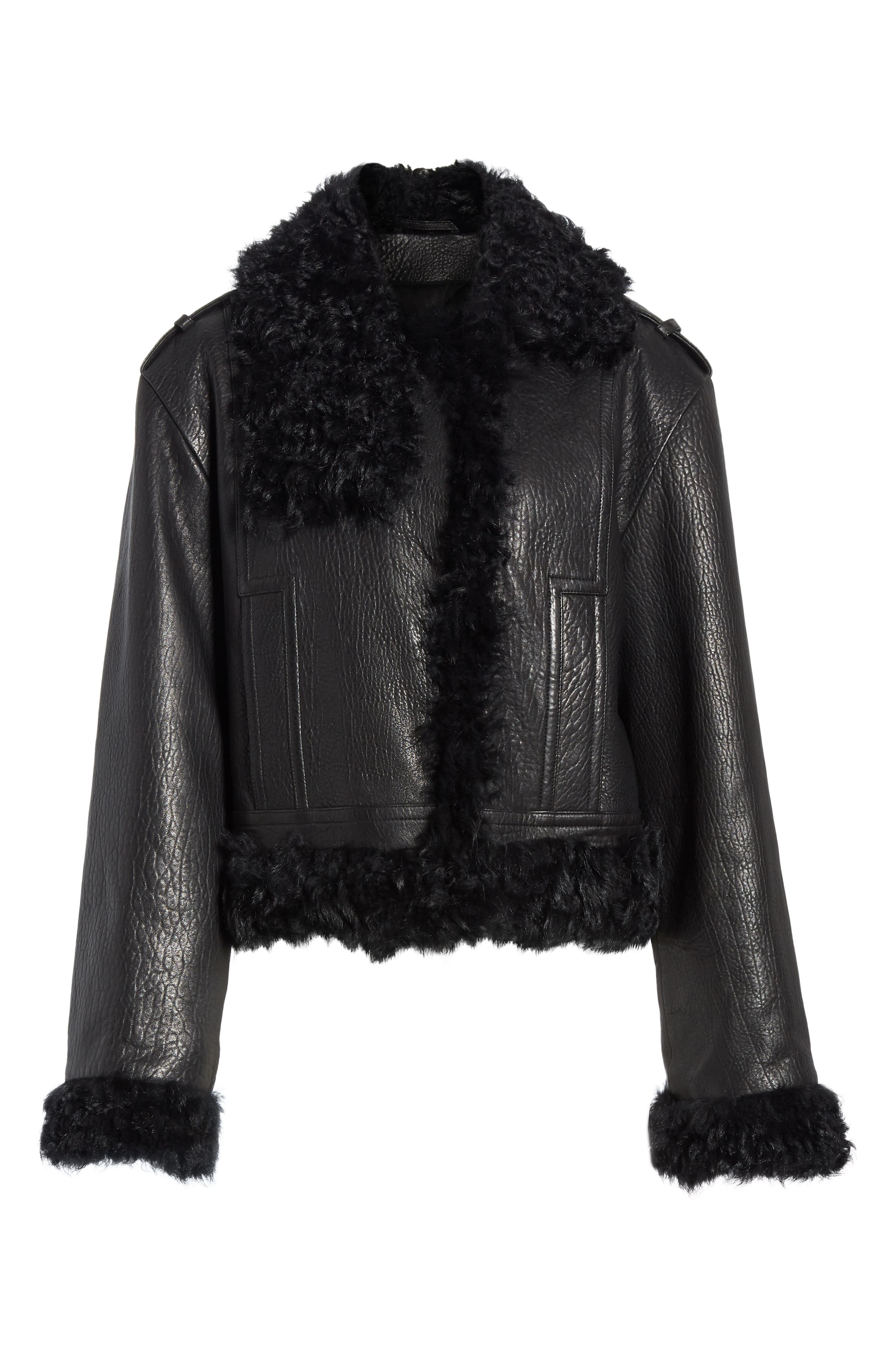 Leather & Genuine Shearling Moto Jacket,                             Alternate thumbnail 6, color,                             BLACK