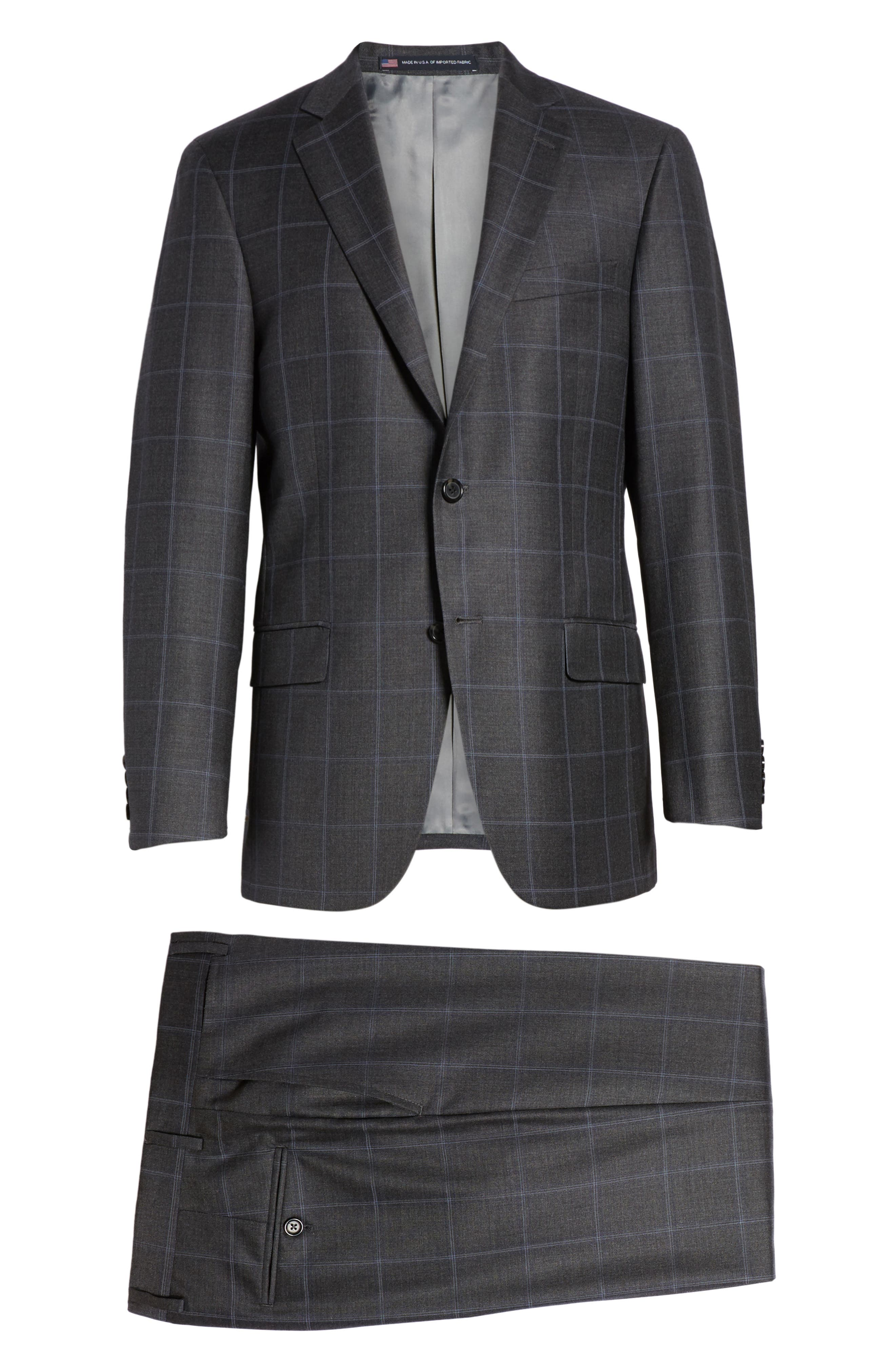 Classic Fit Plaid Wool Suit,                             Alternate thumbnail 8, color,                             020