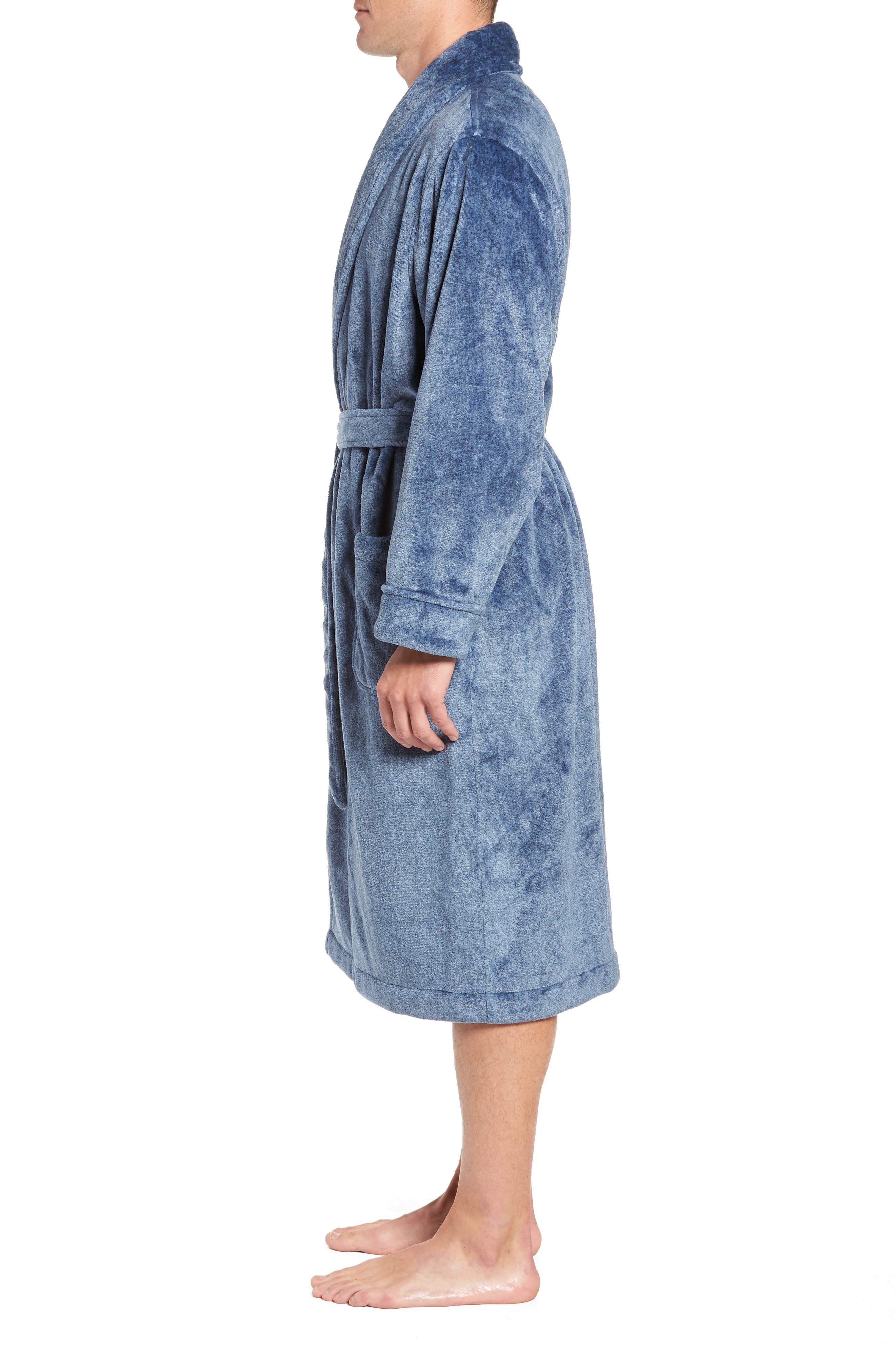 Heathered Fleece Robe,                             Alternate thumbnail 3, color,                             BLUE CORONET