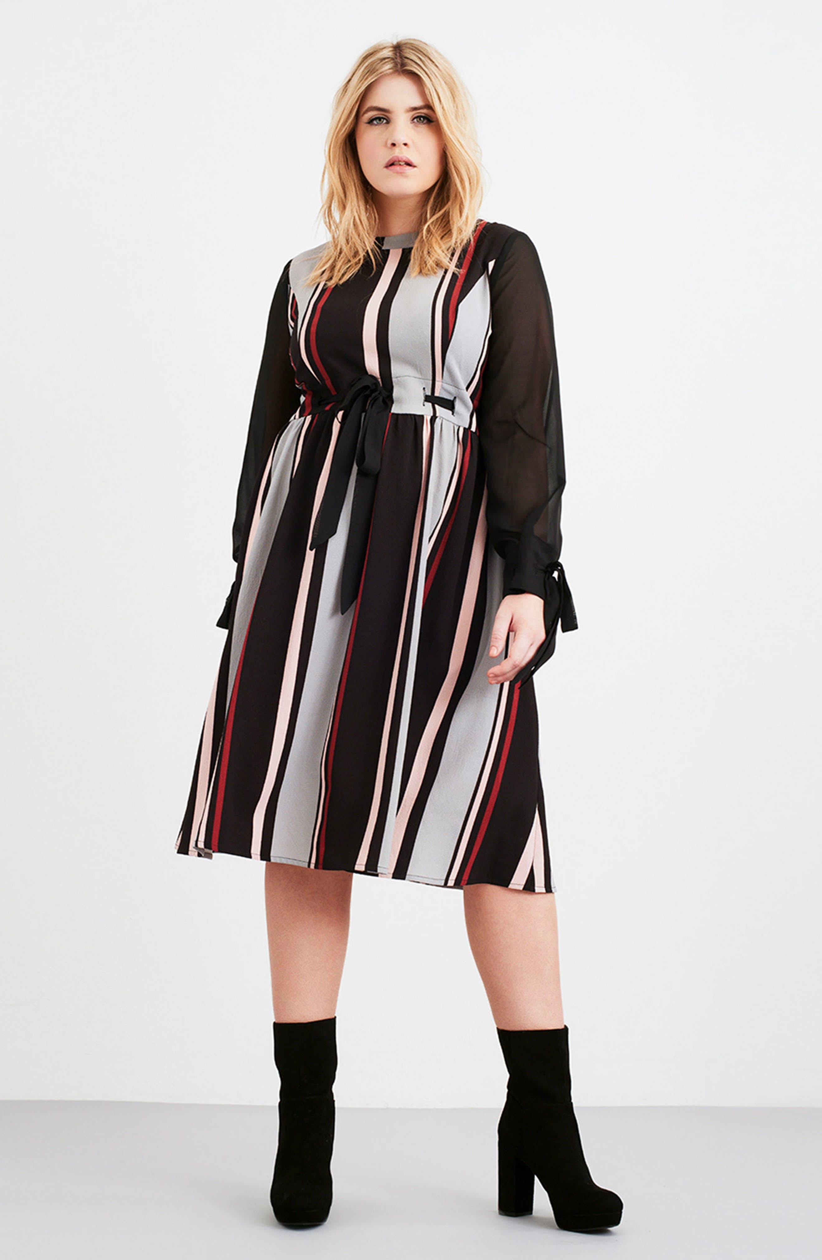 Stripe Fit & Flare Dress,                             Alternate thumbnail 7, color,                             001