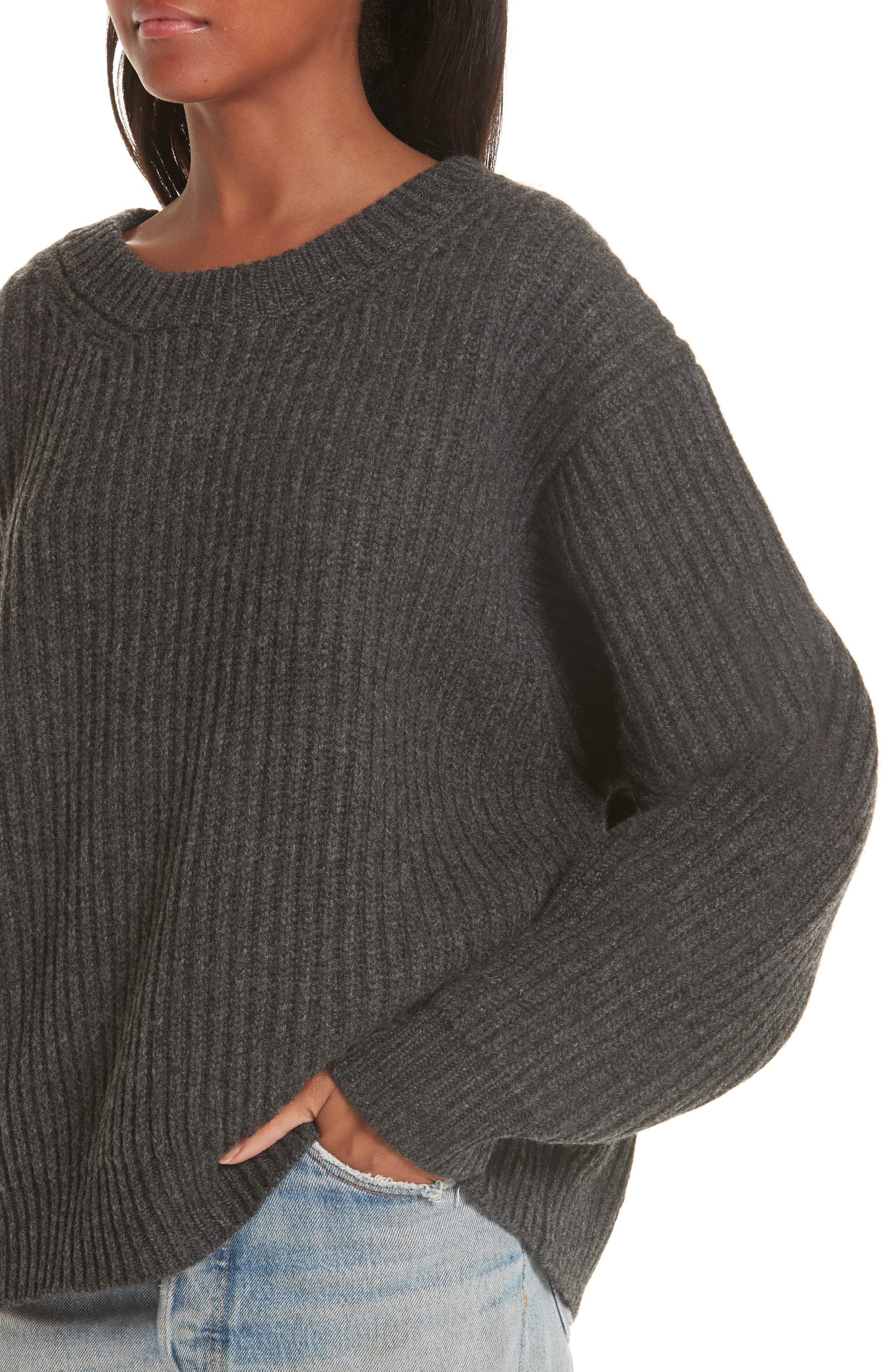 Ribbed Oversized Sweater,                             Alternate thumbnail 4, color,                             DARK GREY
