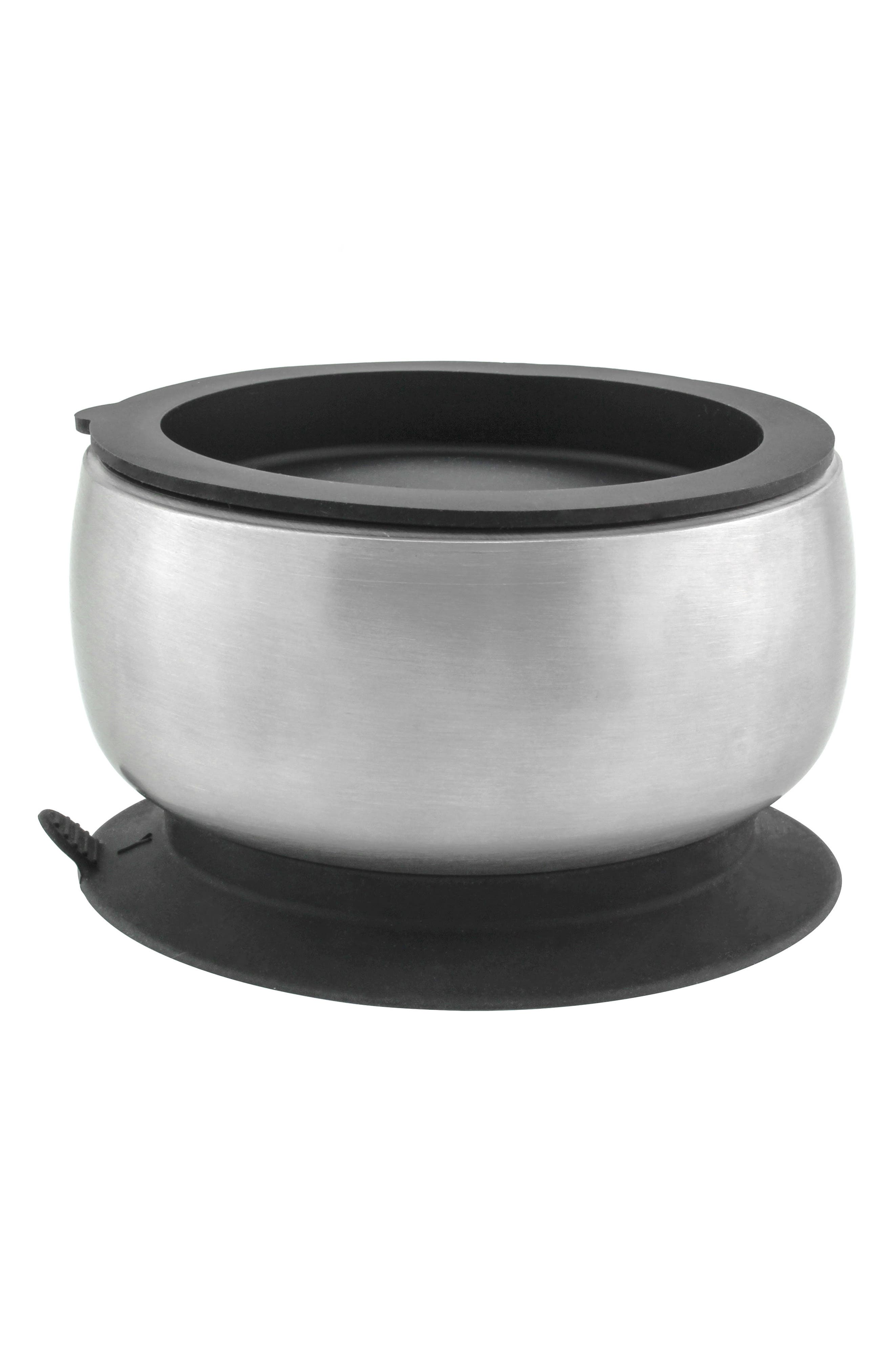 Stainless Steel Stay-Put Suction Bowl & Lid,                             Alternate thumbnail 3, color,                             BLACK