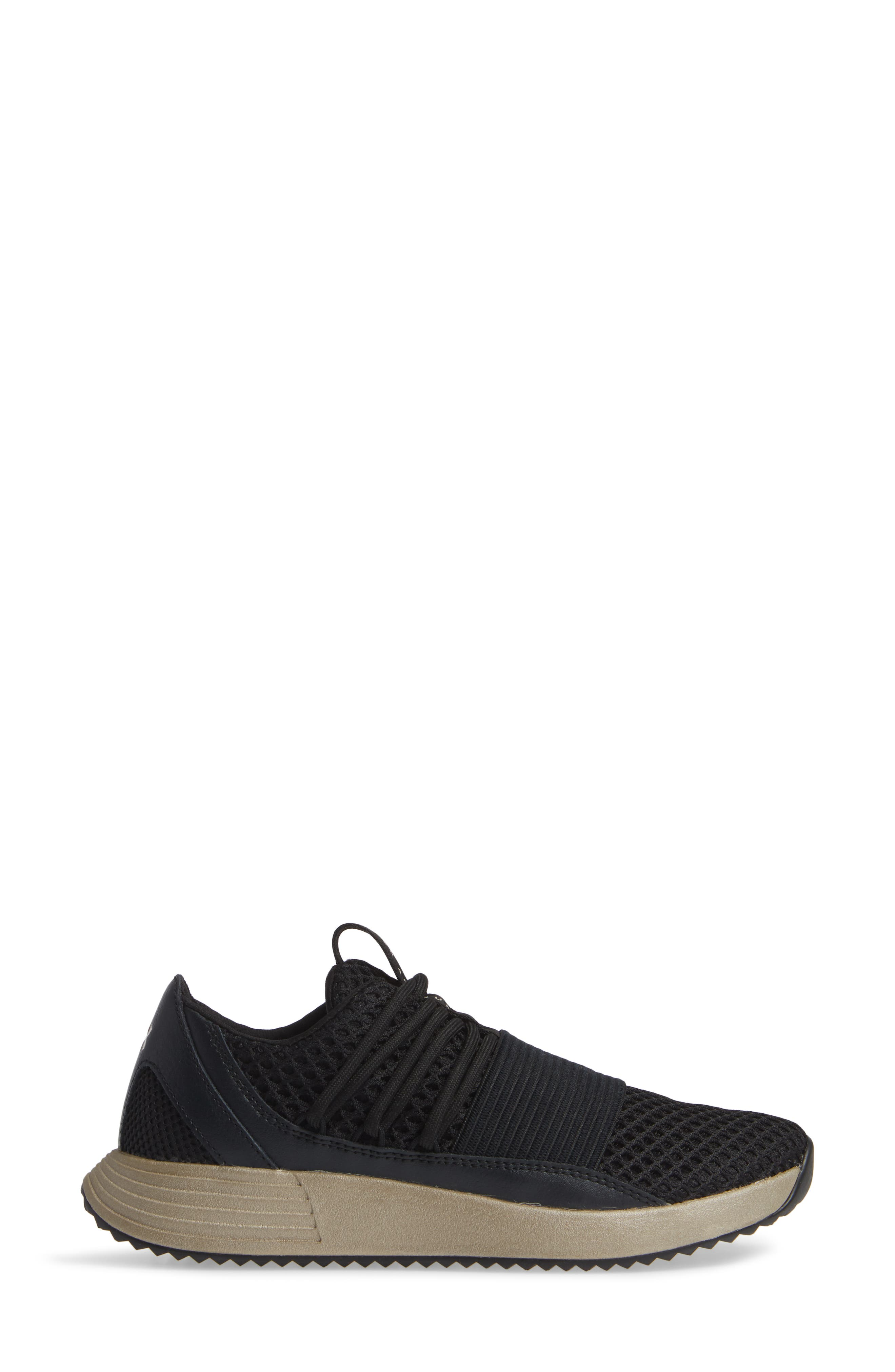 Breathe Lace X NM Sneaker,                             Alternate thumbnail 3, color,                             BLACK/ METALLIC FADED GOLD