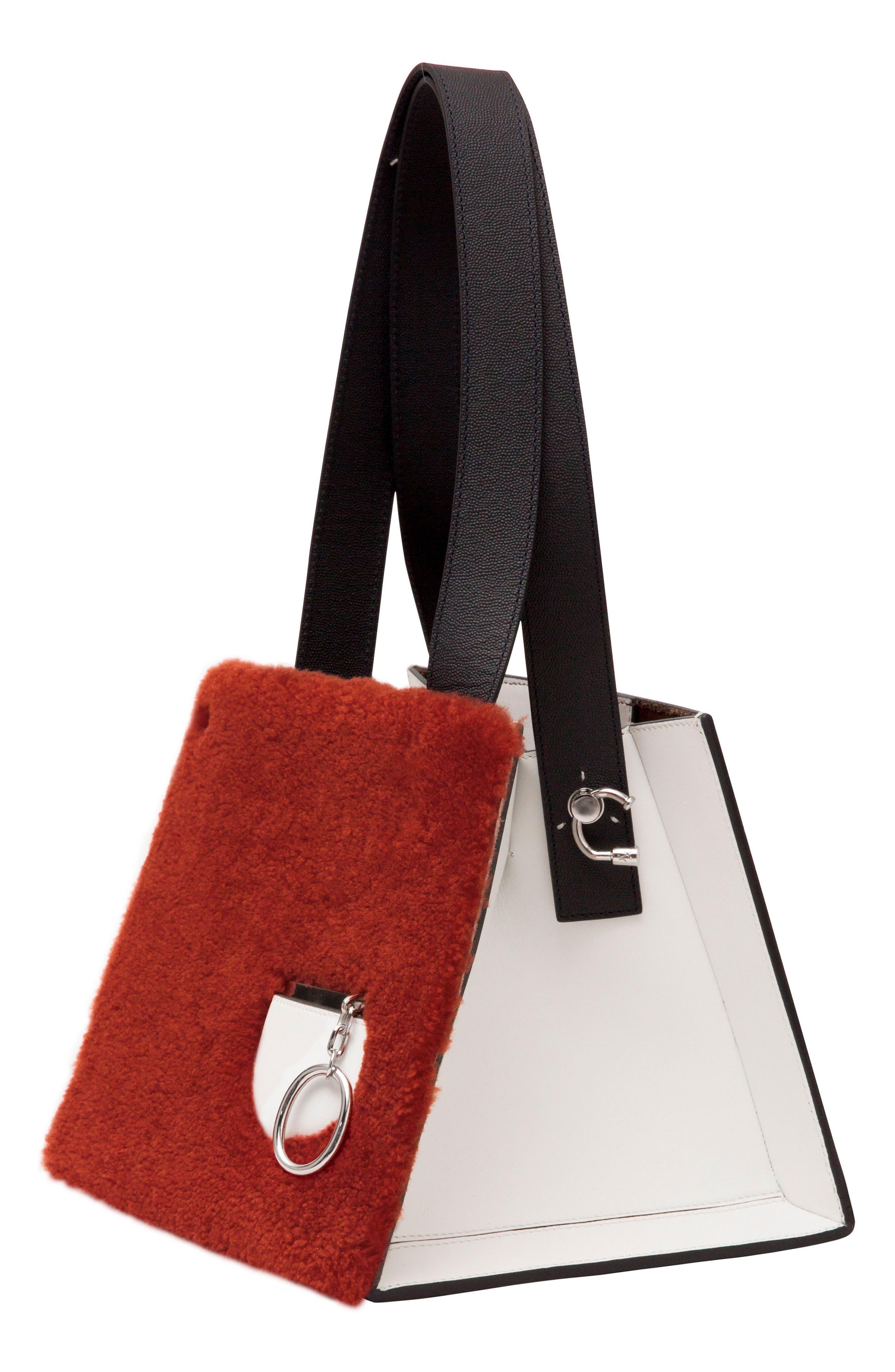 Margot Leather & Genuine Shearling Tote Bag,                             Alternate thumbnail 4, color,                             SHEARLING BRICK