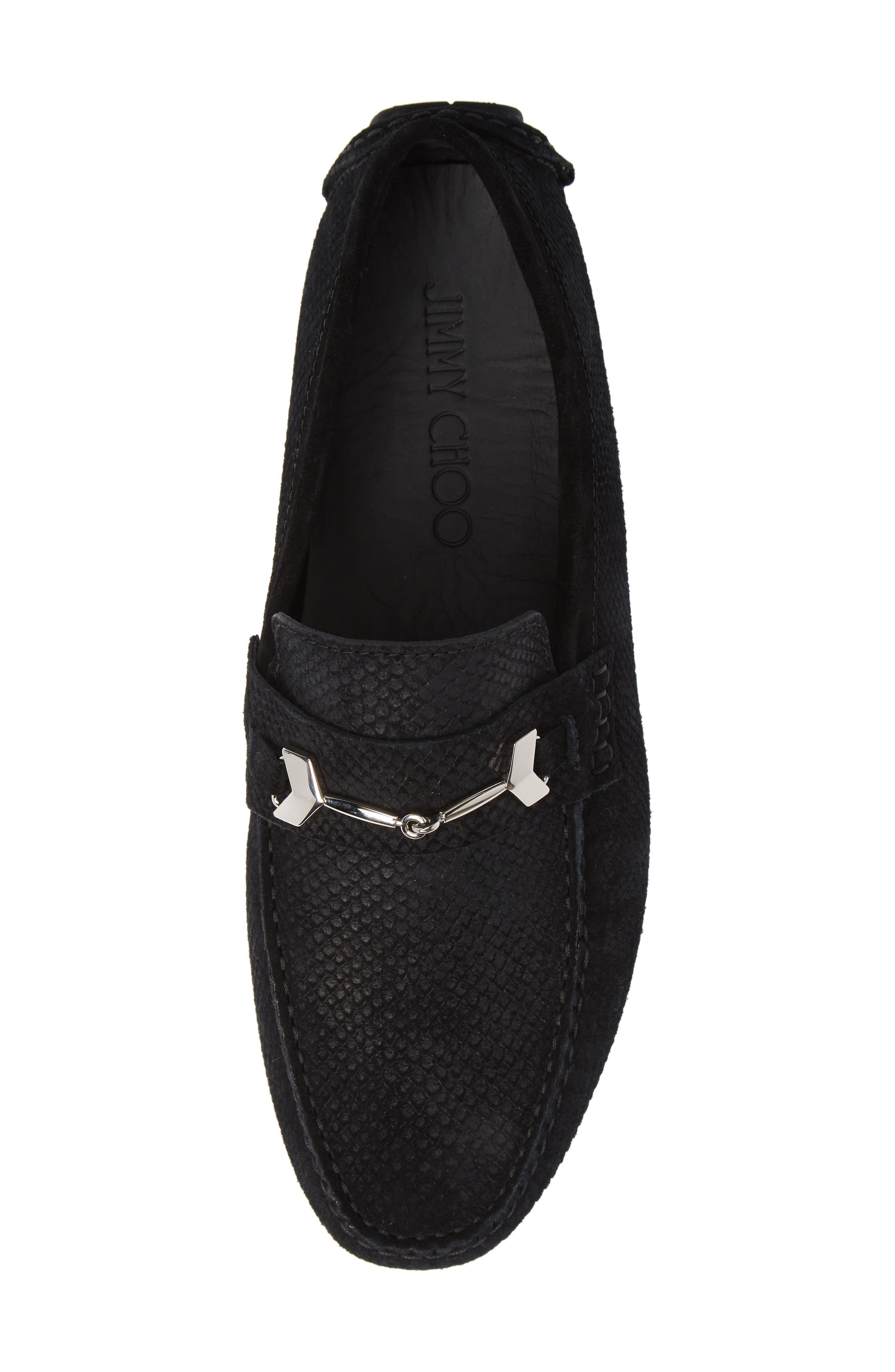 Brewer Croc Textured Driving Loafer,                             Alternate thumbnail 5, color,                             BLACK/BLACK