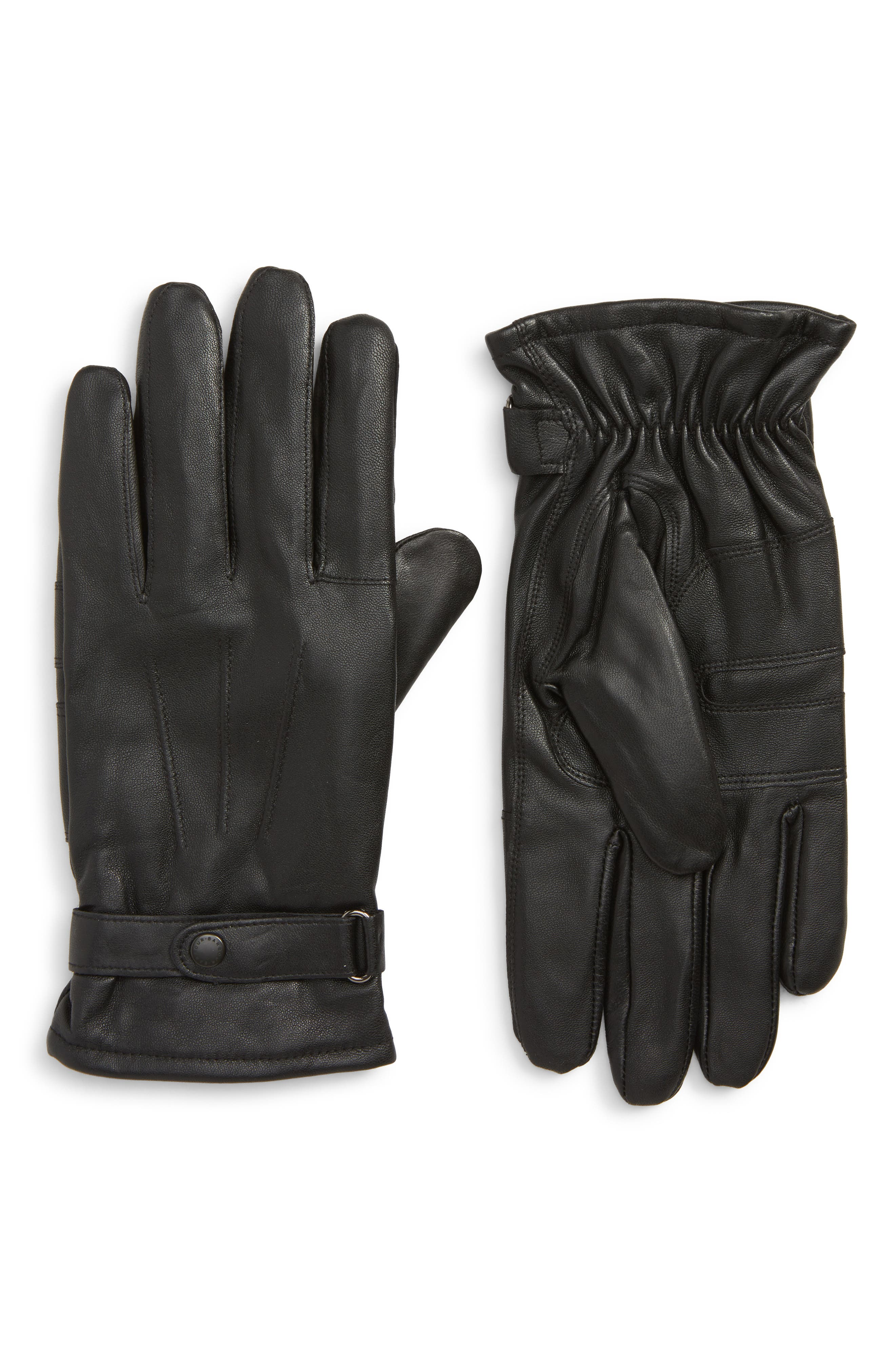 Burnished Leather Gloves,                             Main thumbnail 1, color,                             001