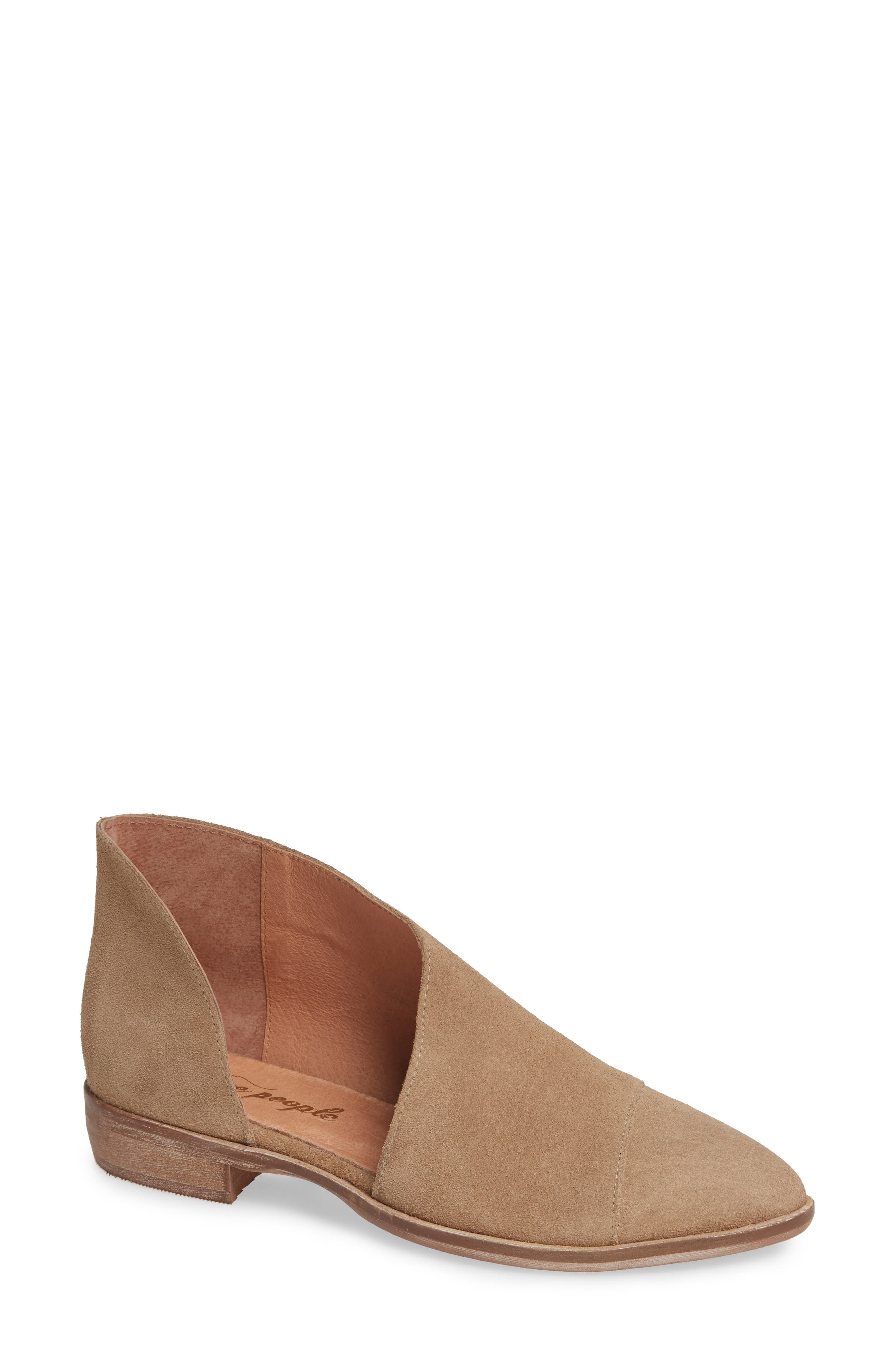 'Royale' Pointy Toe Flat,                             Main thumbnail 1, color,                             BEIGE SUEDE
