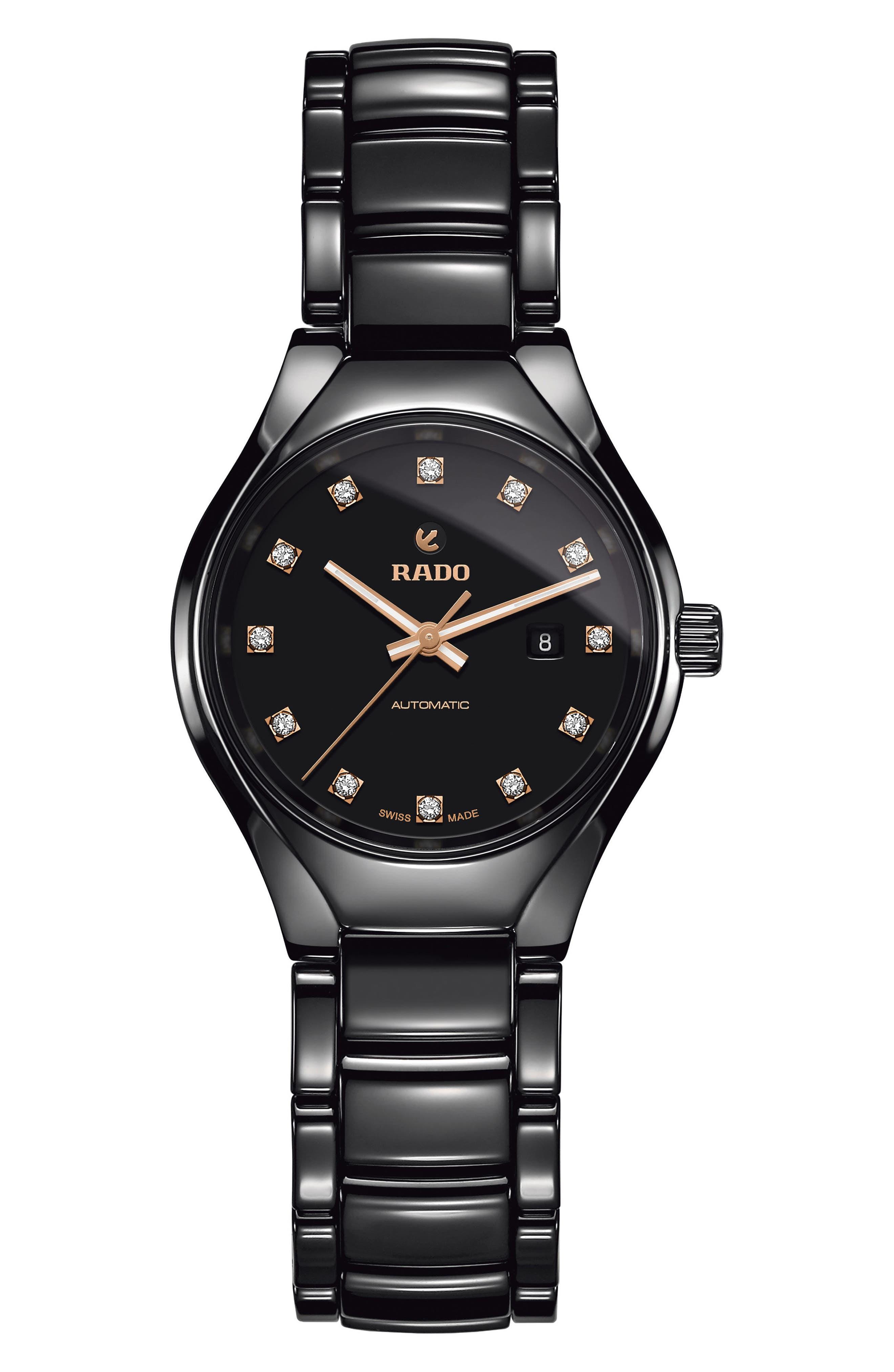 True Automatic Diamond Ceramic Watch, 30mm,                             Main thumbnail 1, color,                             BLACK
