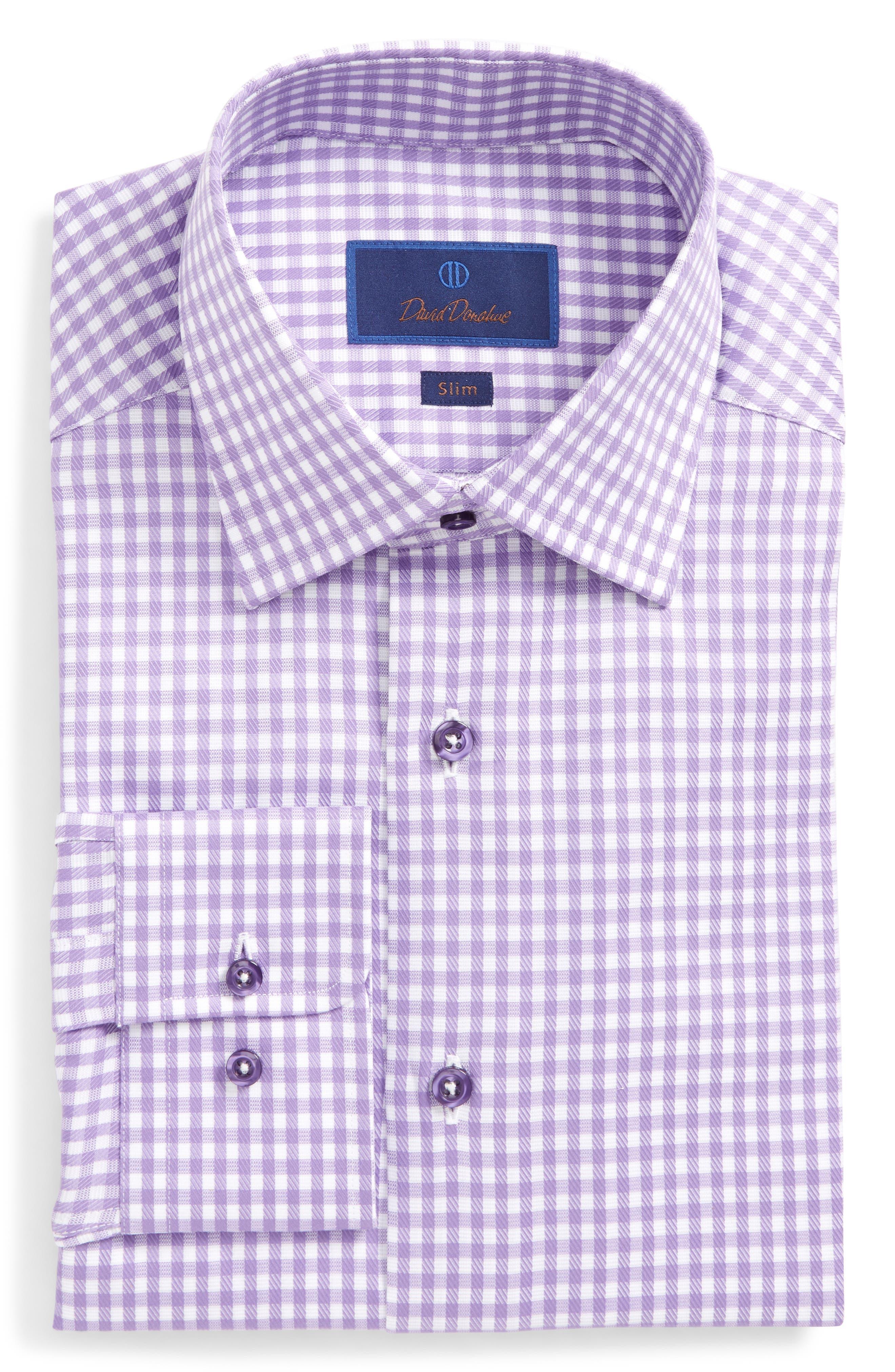 DAVID DONAHUE,                             Slim Fit Check Dress Shirt,                             Main thumbnail 1, color,                             534