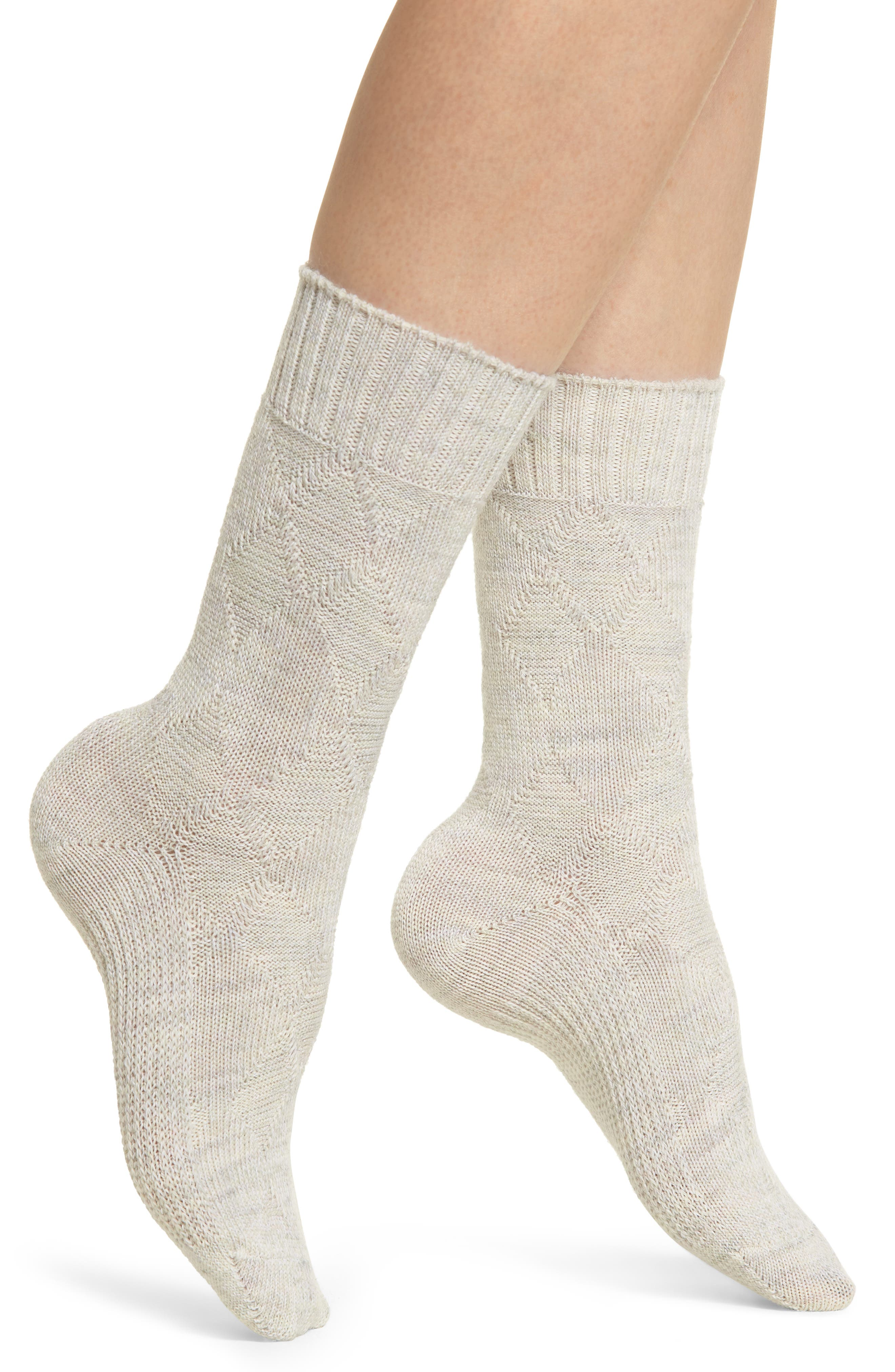 Moonridge Premium Crew Socks,                             Main thumbnail 1, color,                             MOONBEAM HEATHER
