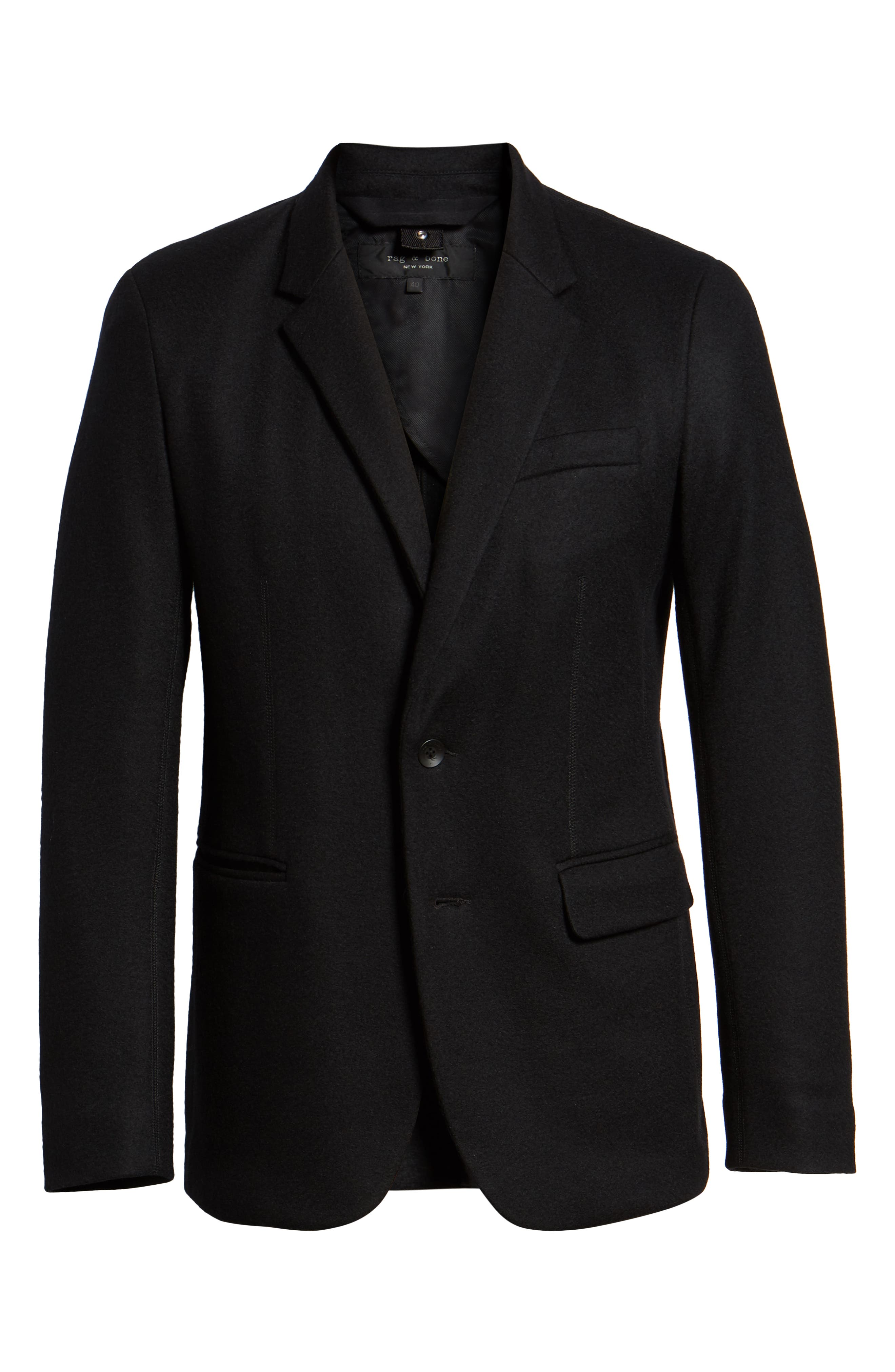 Deconstructed Razor Slim Fit Wool Jacket,                             Alternate thumbnail 5, color,                             BLACK