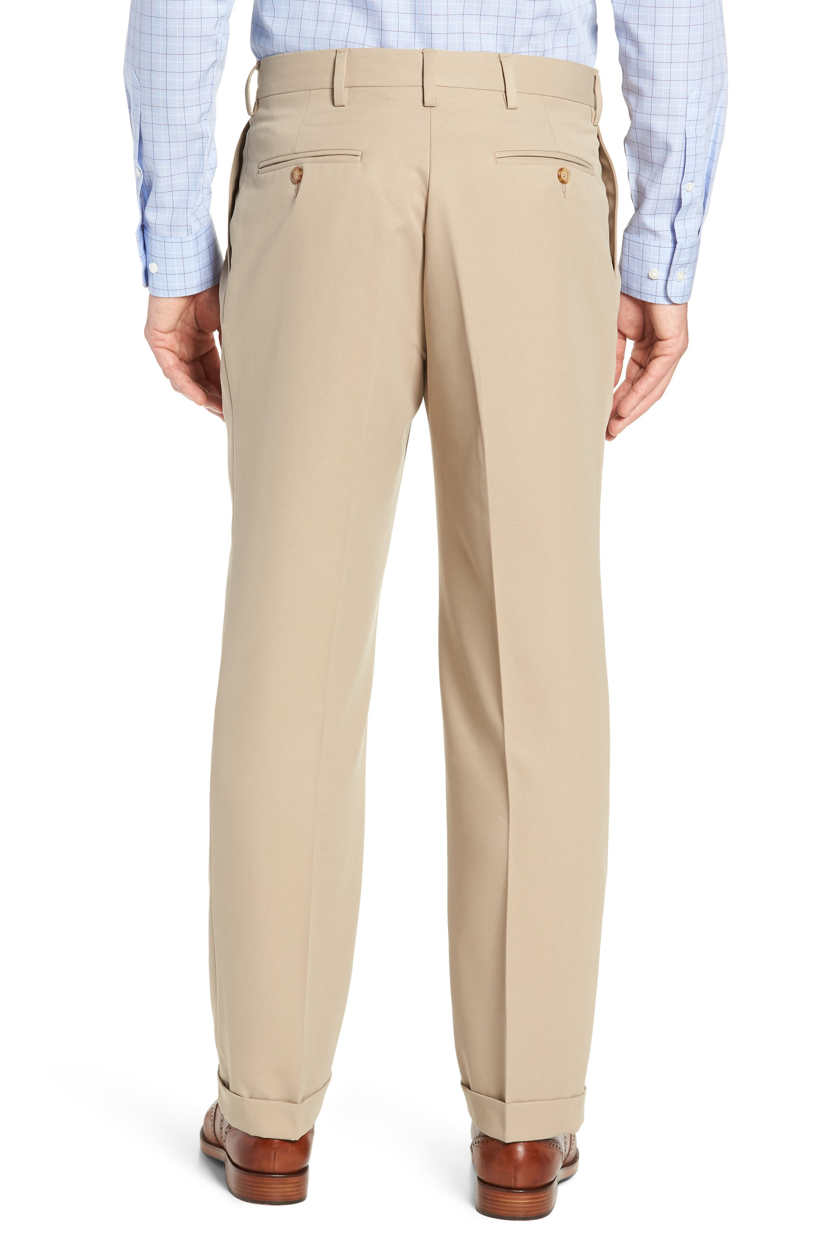 Classic Fit Pleated Microfiber Performance Trousers,                             Alternate thumbnail 2, color,                             TAN