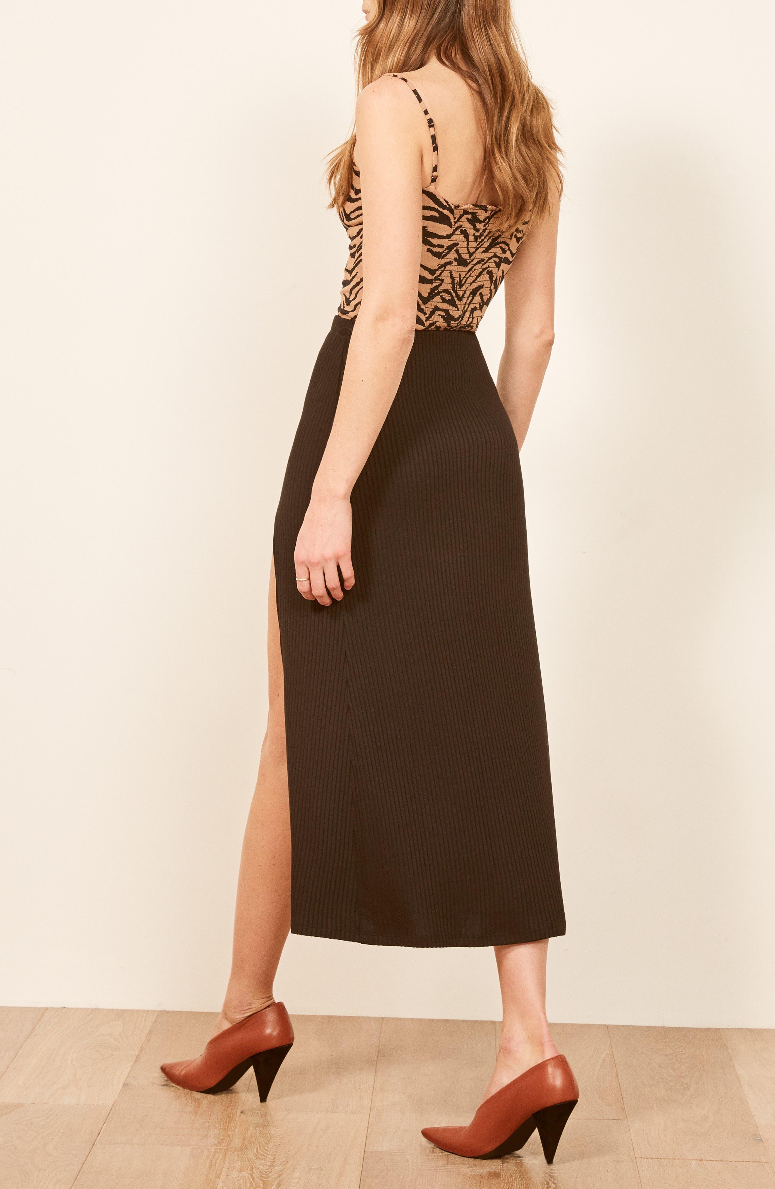 REFORMATION,                             Runyon Side Slit Midi Skirt,                             Alternate thumbnail 3, color,                             BLACK