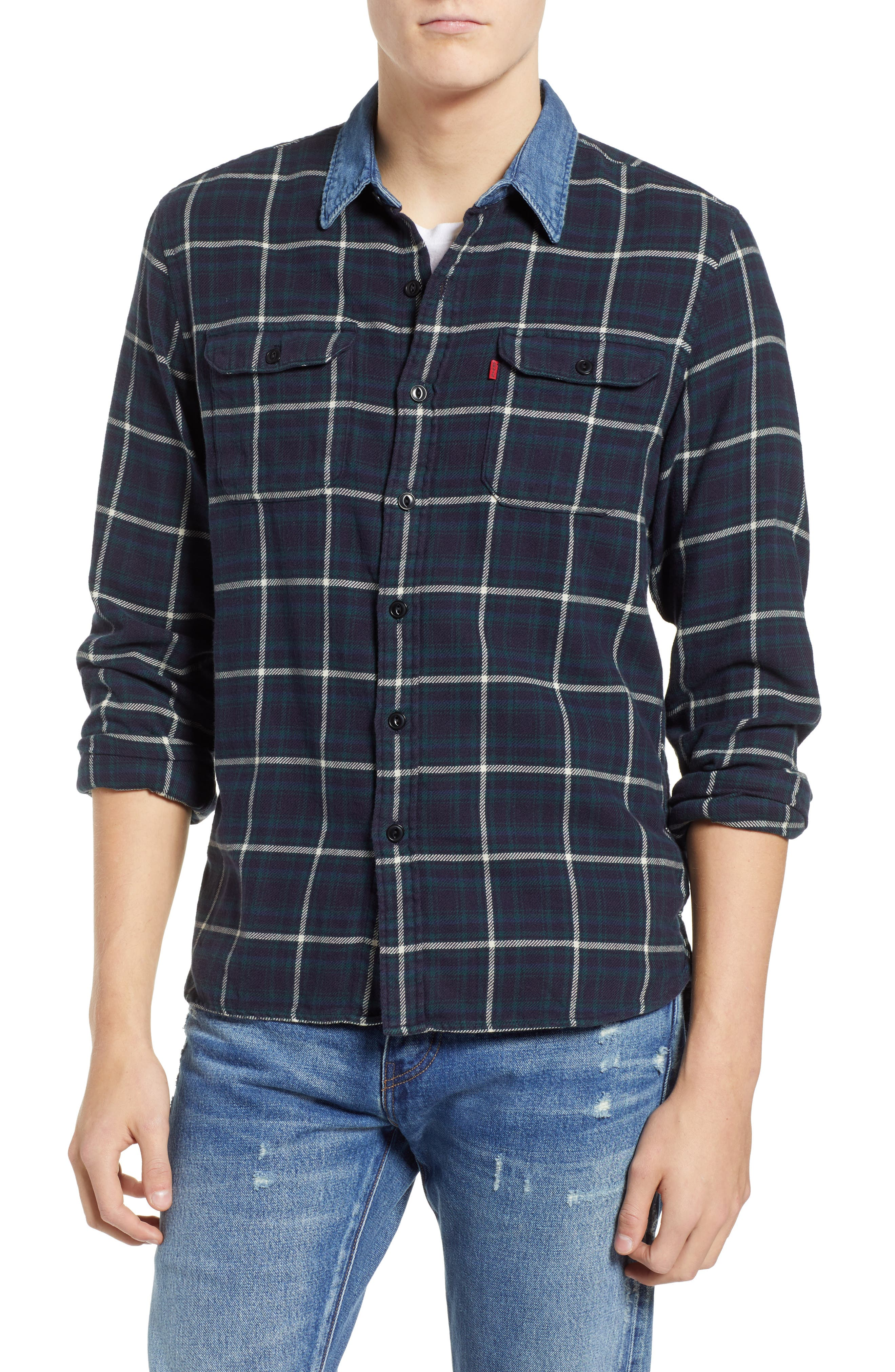 x Justin Timberlake Slim Fit Flannel Worker Shirt,                             Main thumbnail 1, color,                             HALLET NIGHT SKY